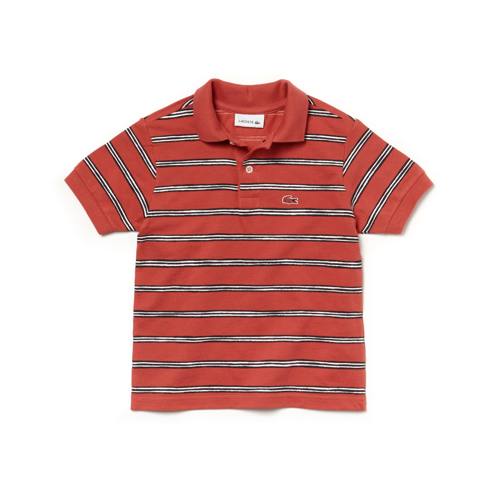 Polo Lacoste de chico en mini piqué de algodón a rayas