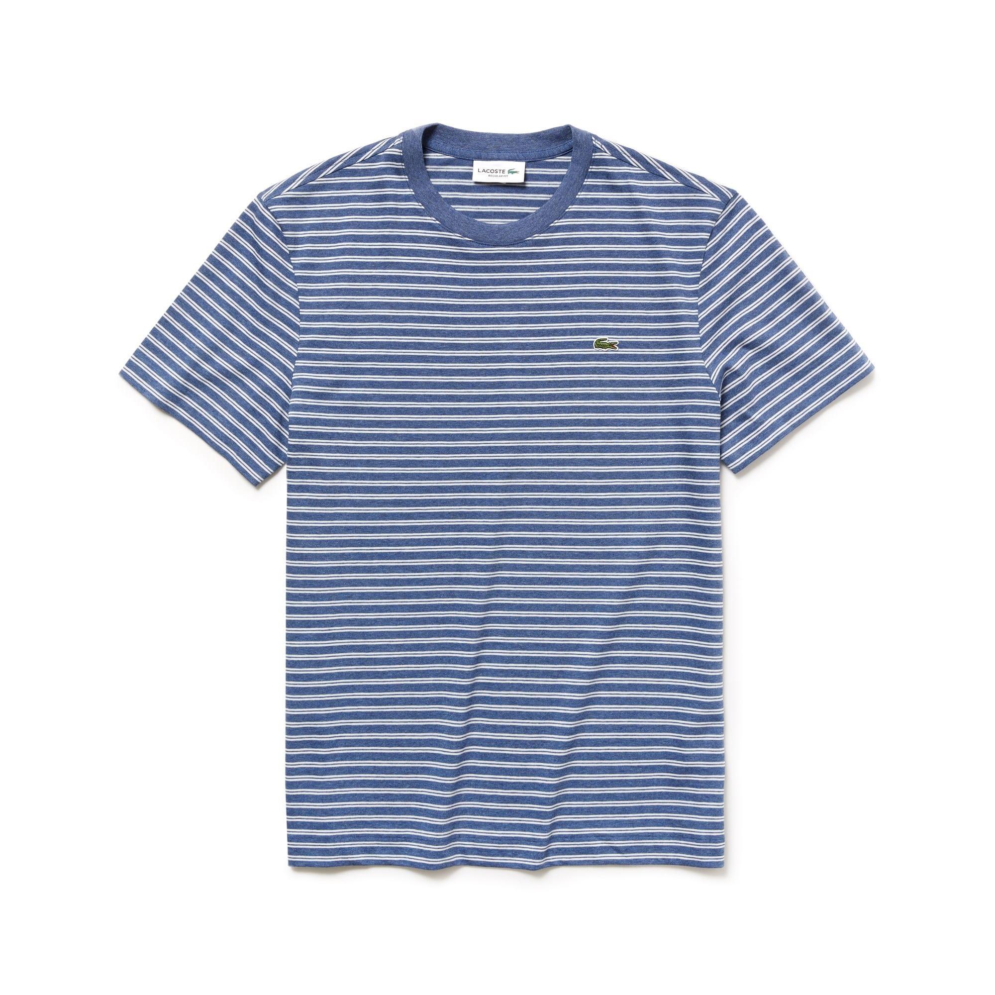 Camiseta De Hombre De Tejido De Punto De Algodón A Rayas Con Cuello Redondo