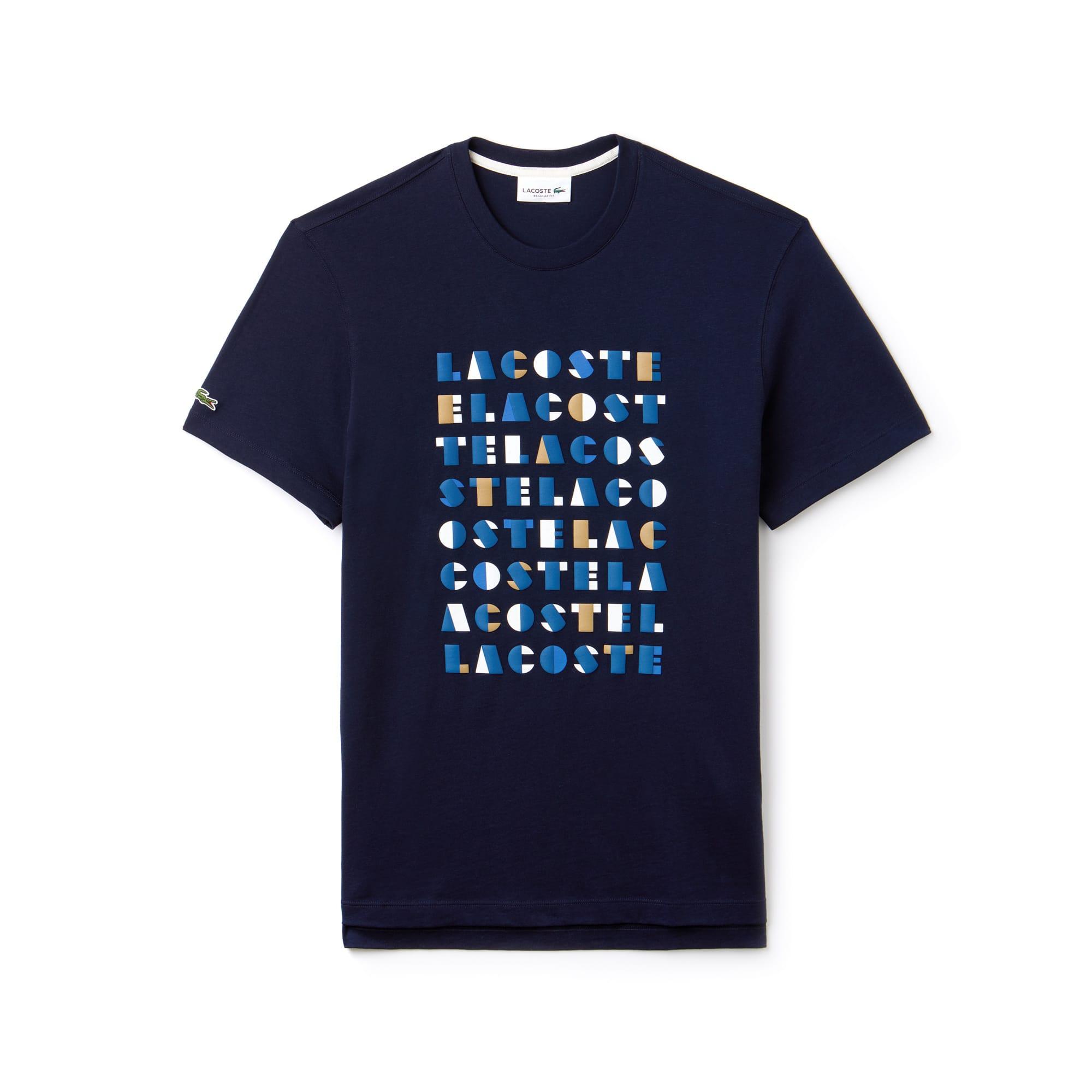 Camiseta De Hombre En Tejido De Punto De Algodón Con Inscripción Tridimensional Y Cuello Redondo