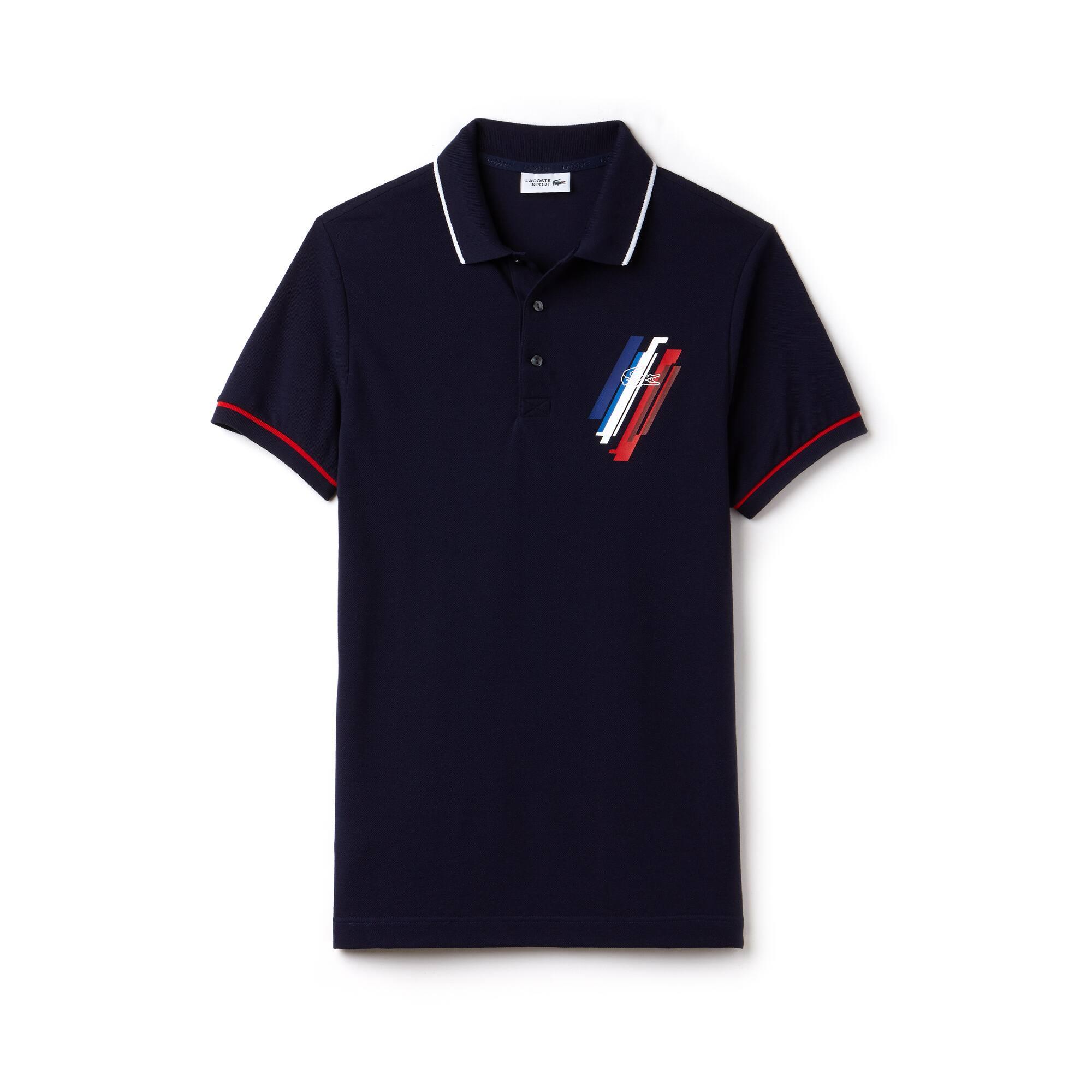 Men's Lacoste Tricolor Collection Design Two-Ply Petit Piqué Polo