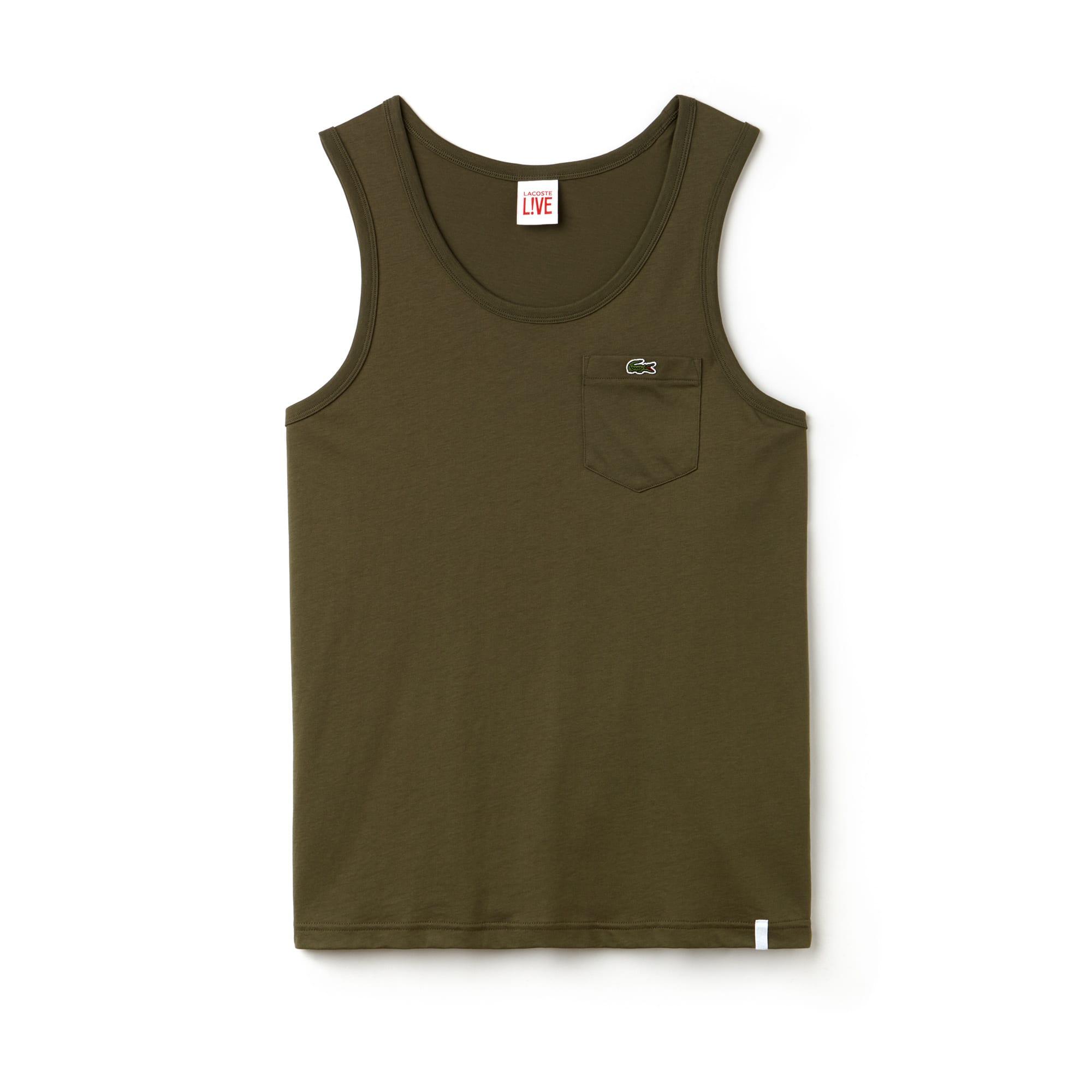 Top Lacoste LIVE de punto jersey de algodón liso con bolsillo