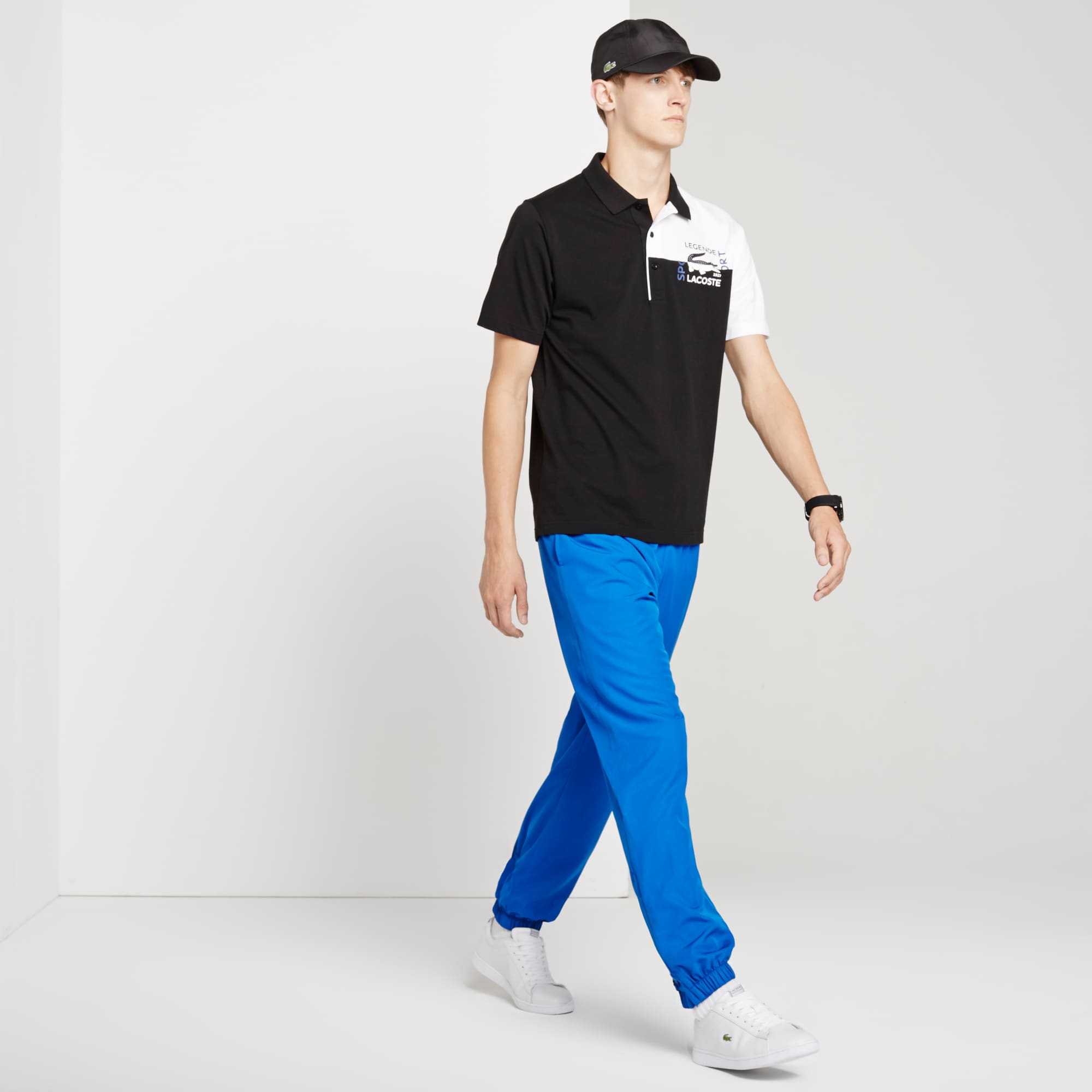 Pantalones de chándal Lacoste SPORT de sólido tafetán con tejido de rombos