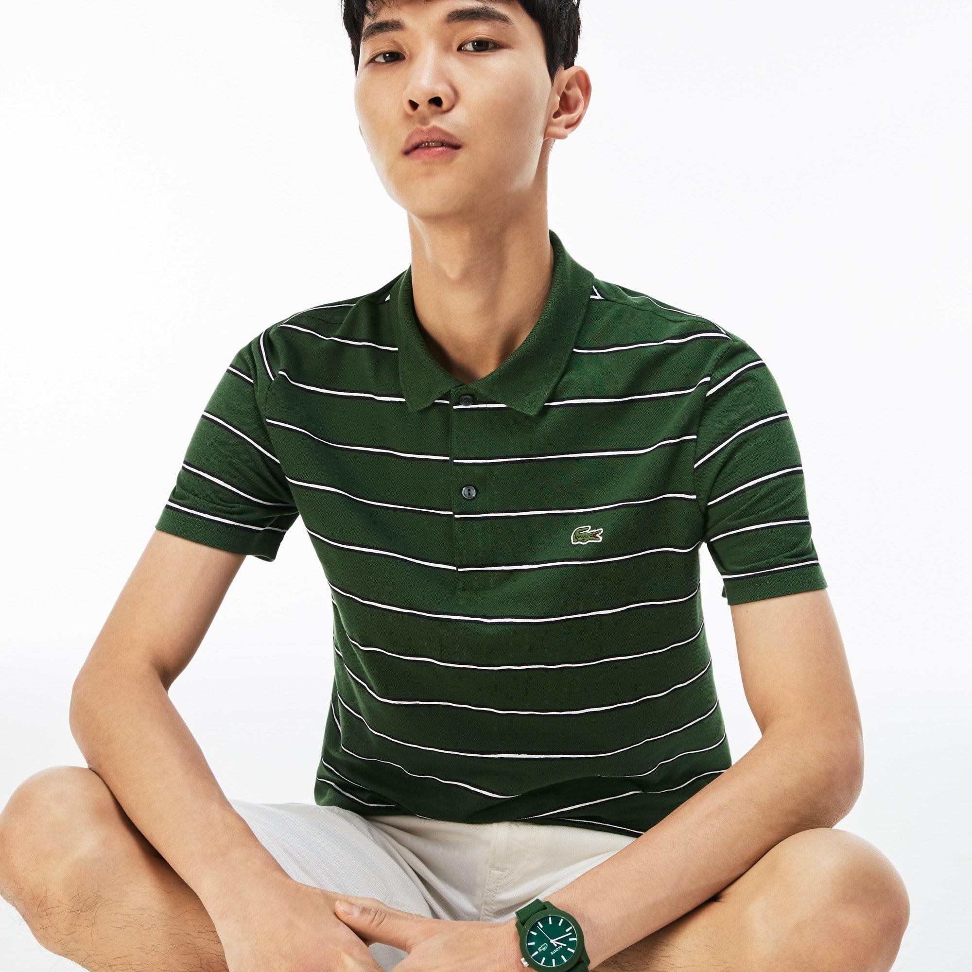 Men's Lacoste Regular Fit Striped Cotton Mini Piqué Polo