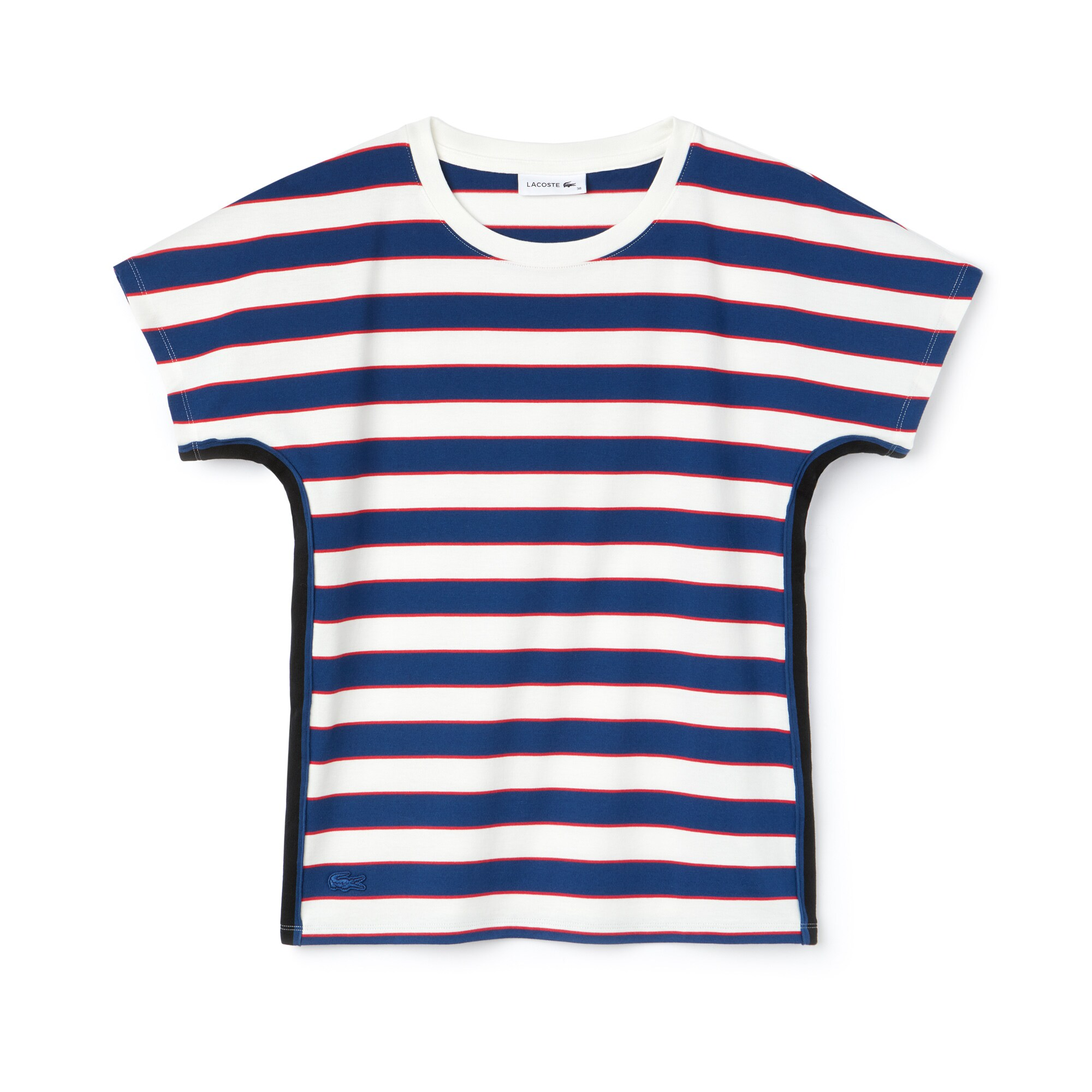 Camiseta De Mujer En Tejido De Punto De Algodón De Rayas Color Block Con Cuello Redondo