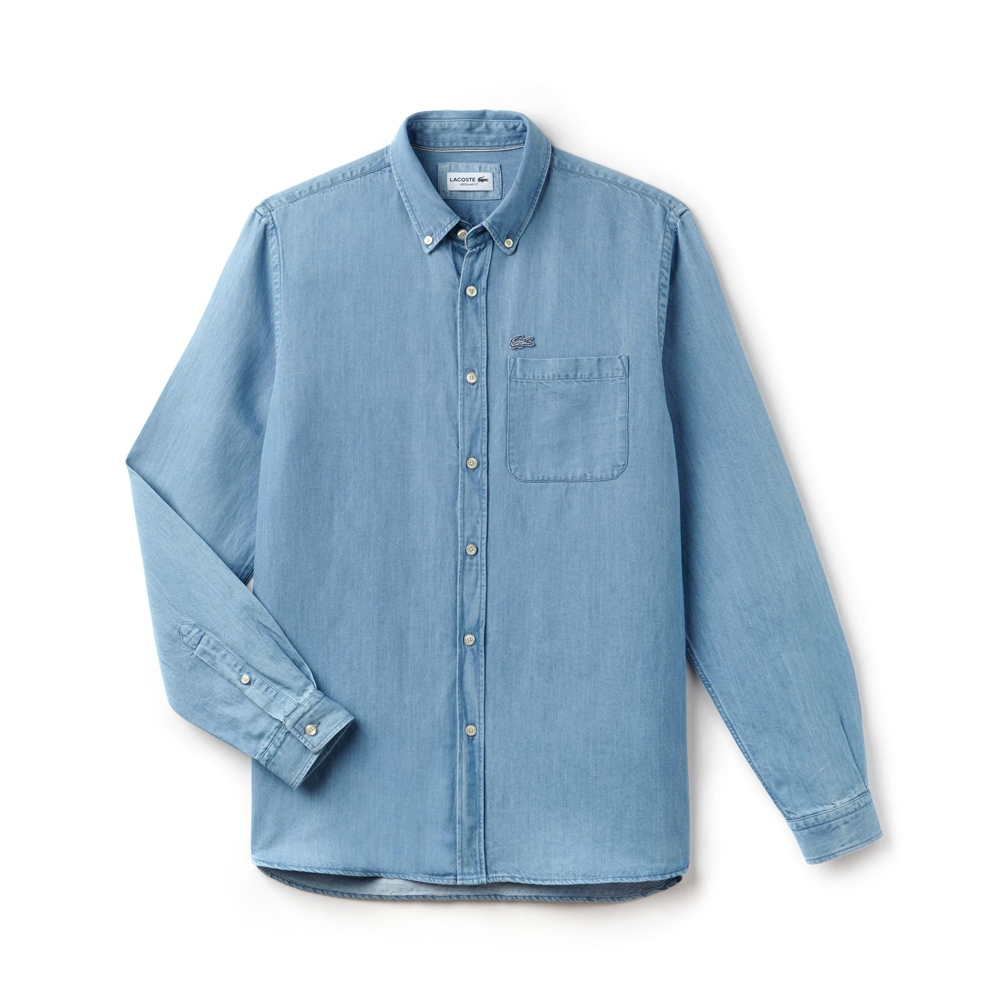 Camisa corte regular en denim de algodón y lino lisa