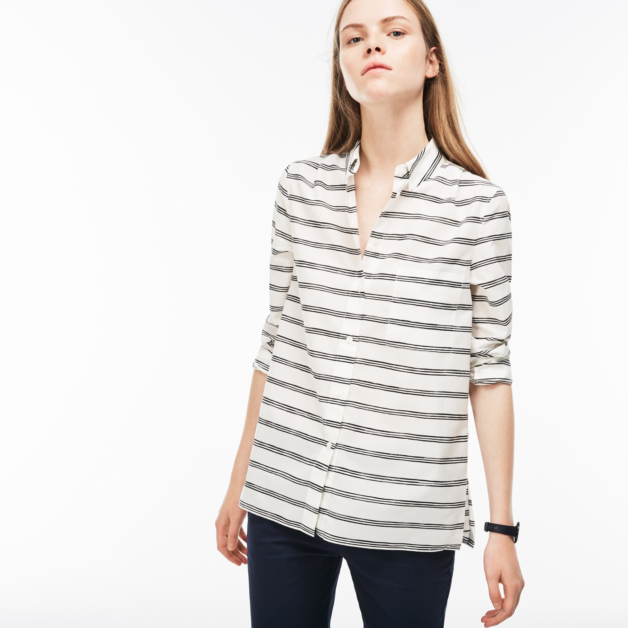Camisa regular fit de velo de algodón y seda con rayas