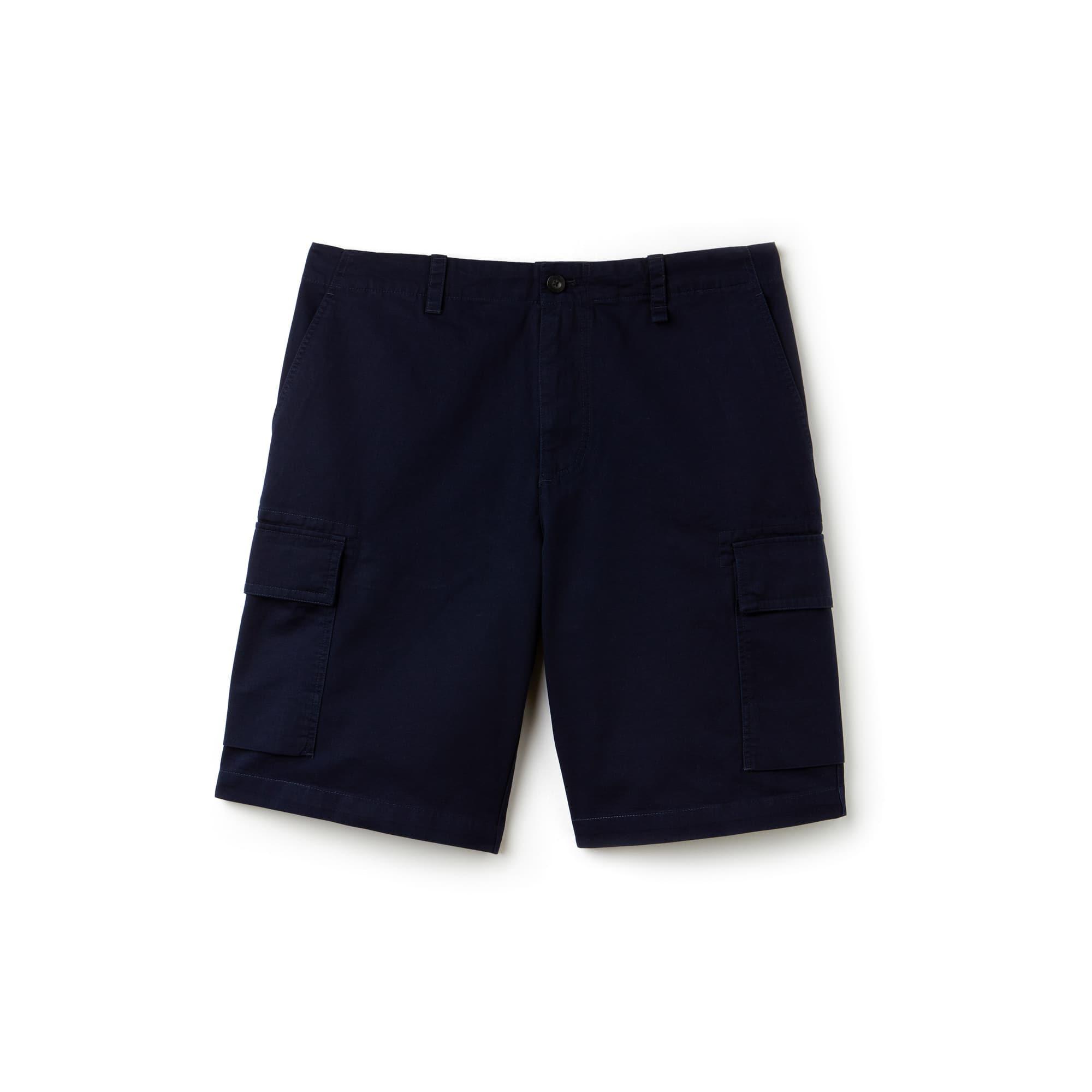 Bermudas cargo de sarga de algodón liso con bolsillos