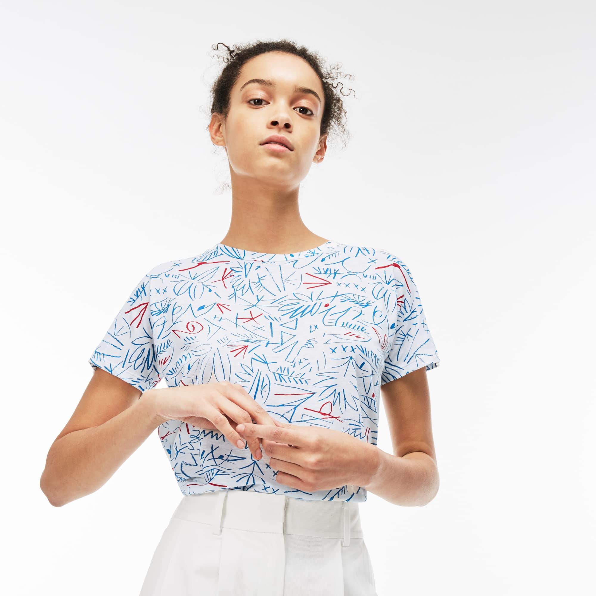Camiseta de cuello redondo de punto jersey crep de algodón estampado