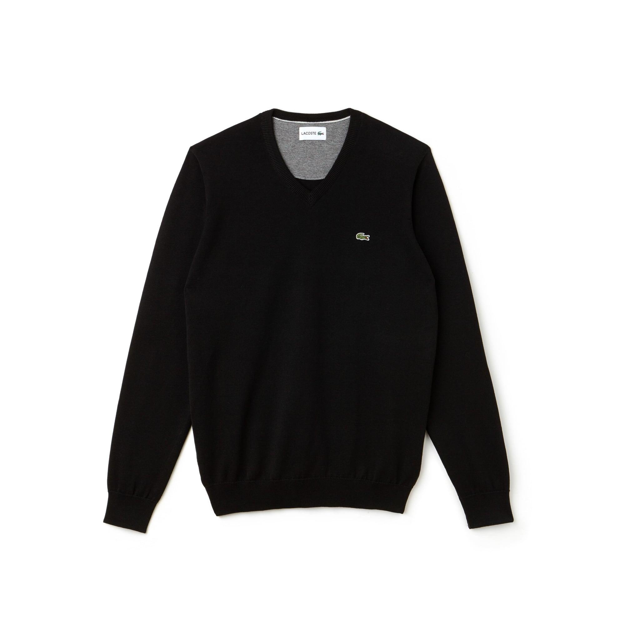 Jersey con cuello a pico de punto jersey de algodón liso y detalle piqué caviar