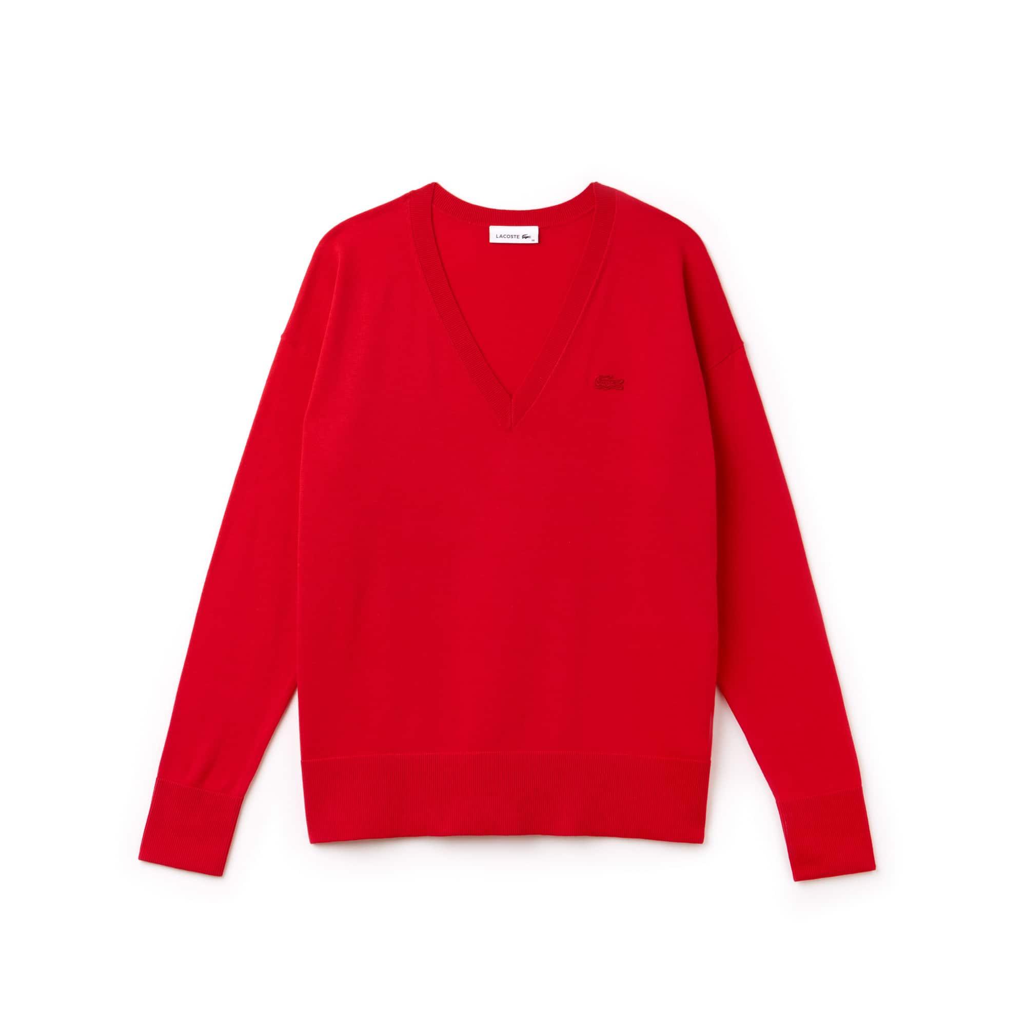 Jersey de cuello a pico de algodón liso