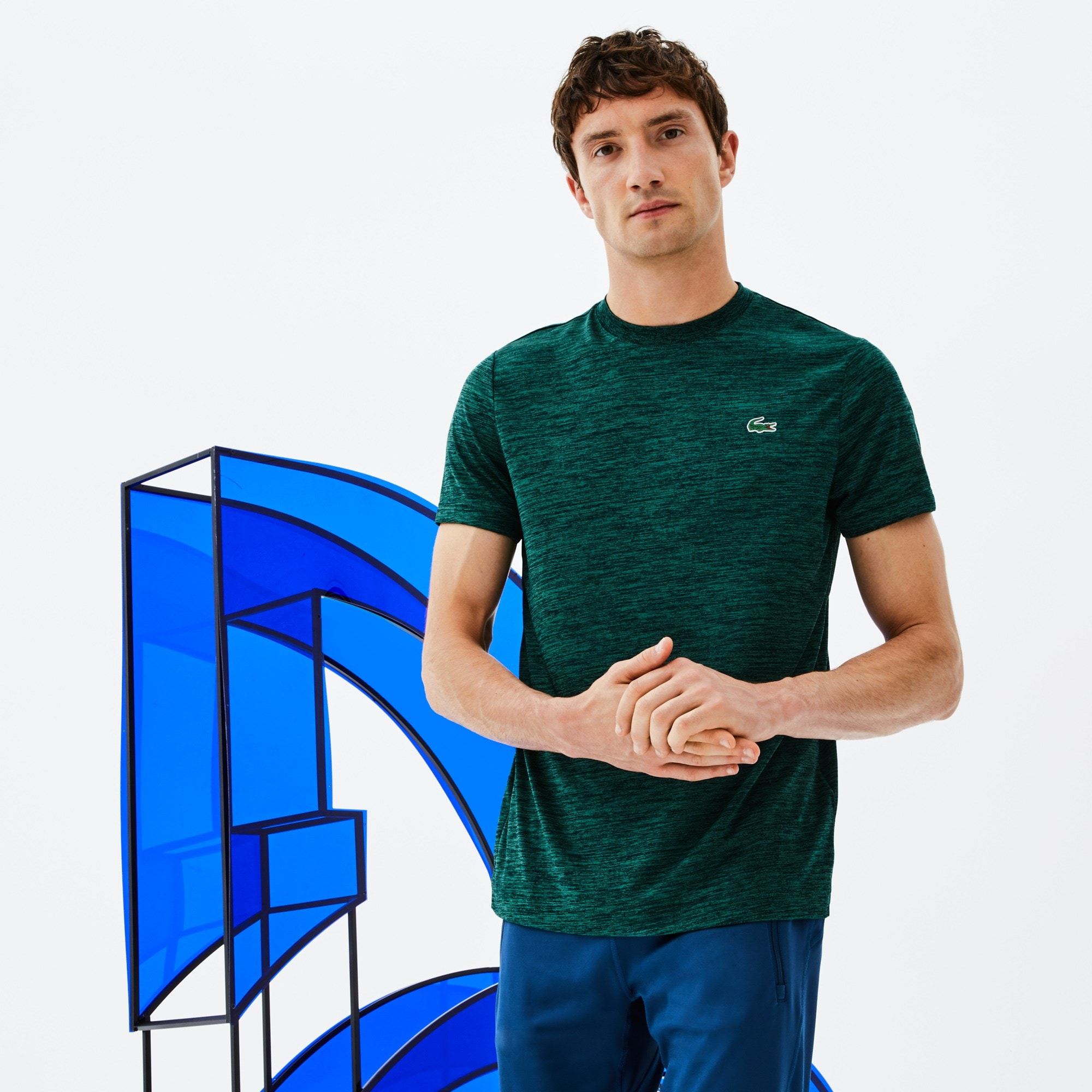 Camiseta De Hombre Cuello Redondo Tenis Lacoste SPORT En Punto Técnico Y Malla