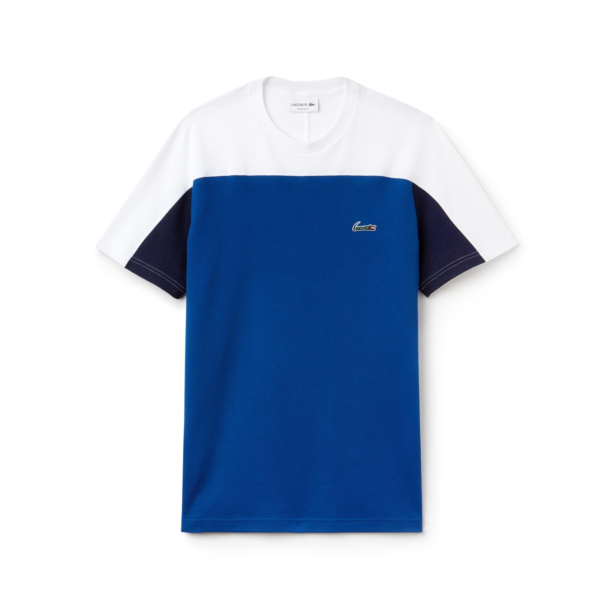 Camiseta de cuello redondo en mini jacquard de algodón con diseño color block