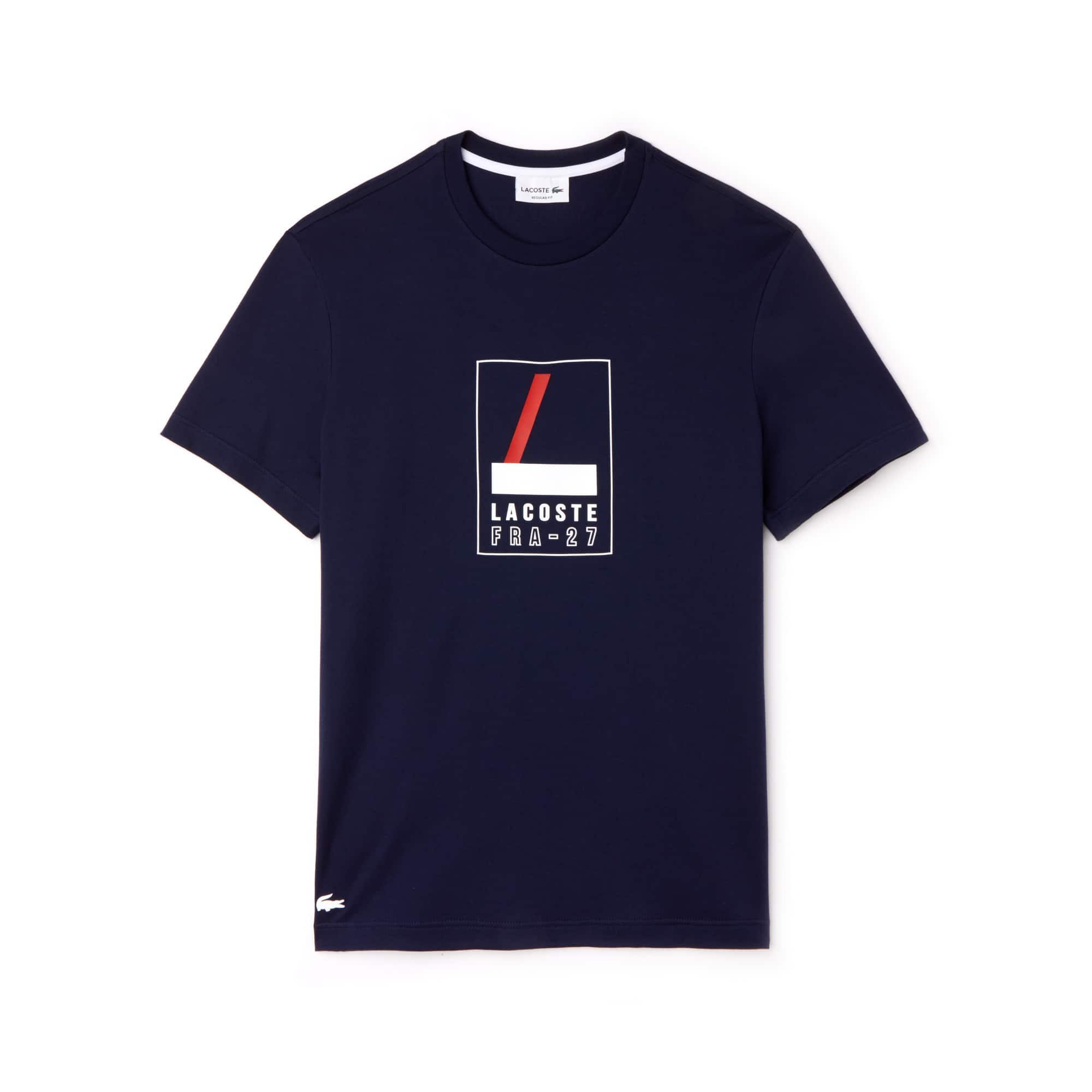 Camiseta De Hombre En Tejido De Punto Suave Con Inscripción Engomada Y Cuello Redondo