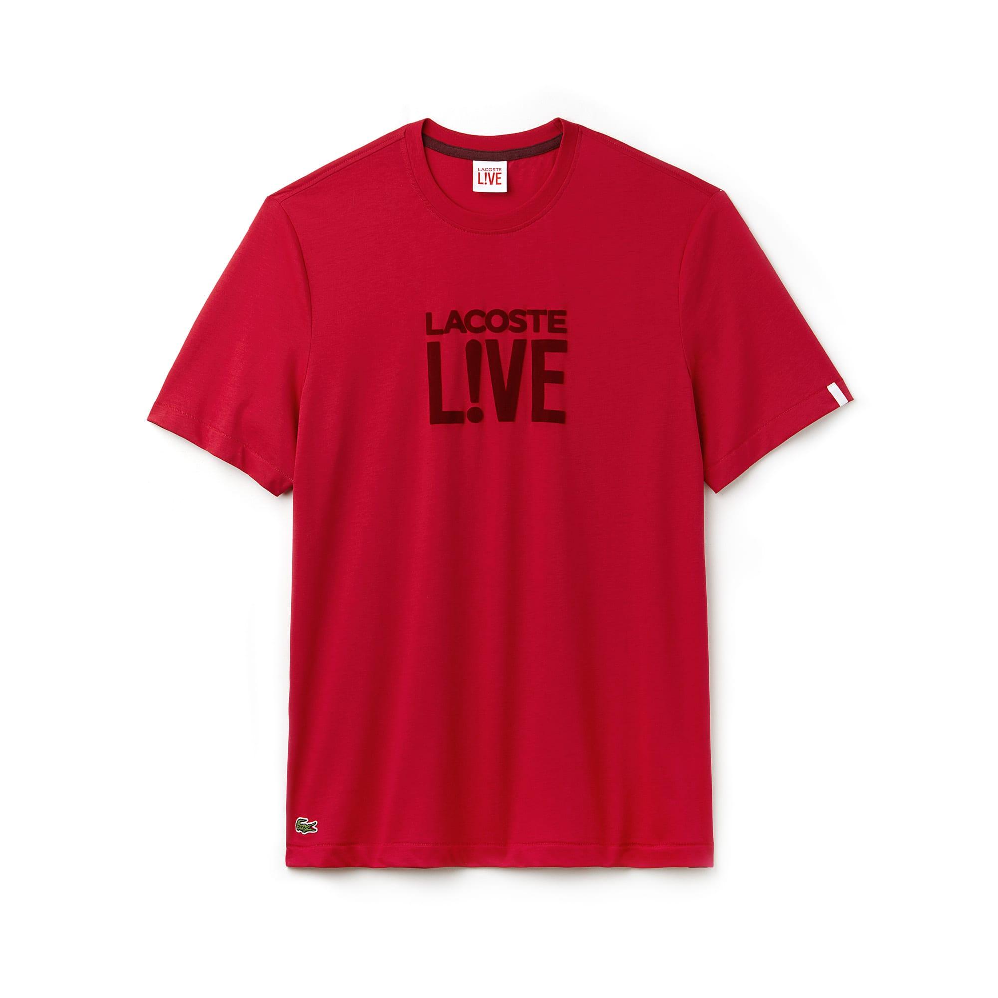 Camiseta de cuello redondo Lacoste LIVE de punto jersey con logotipo de terciopelo