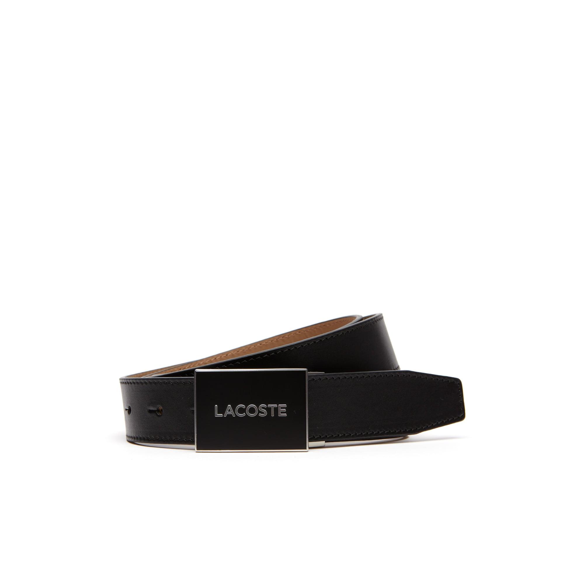 Men's Engraved Plate Buckle Leather Belt