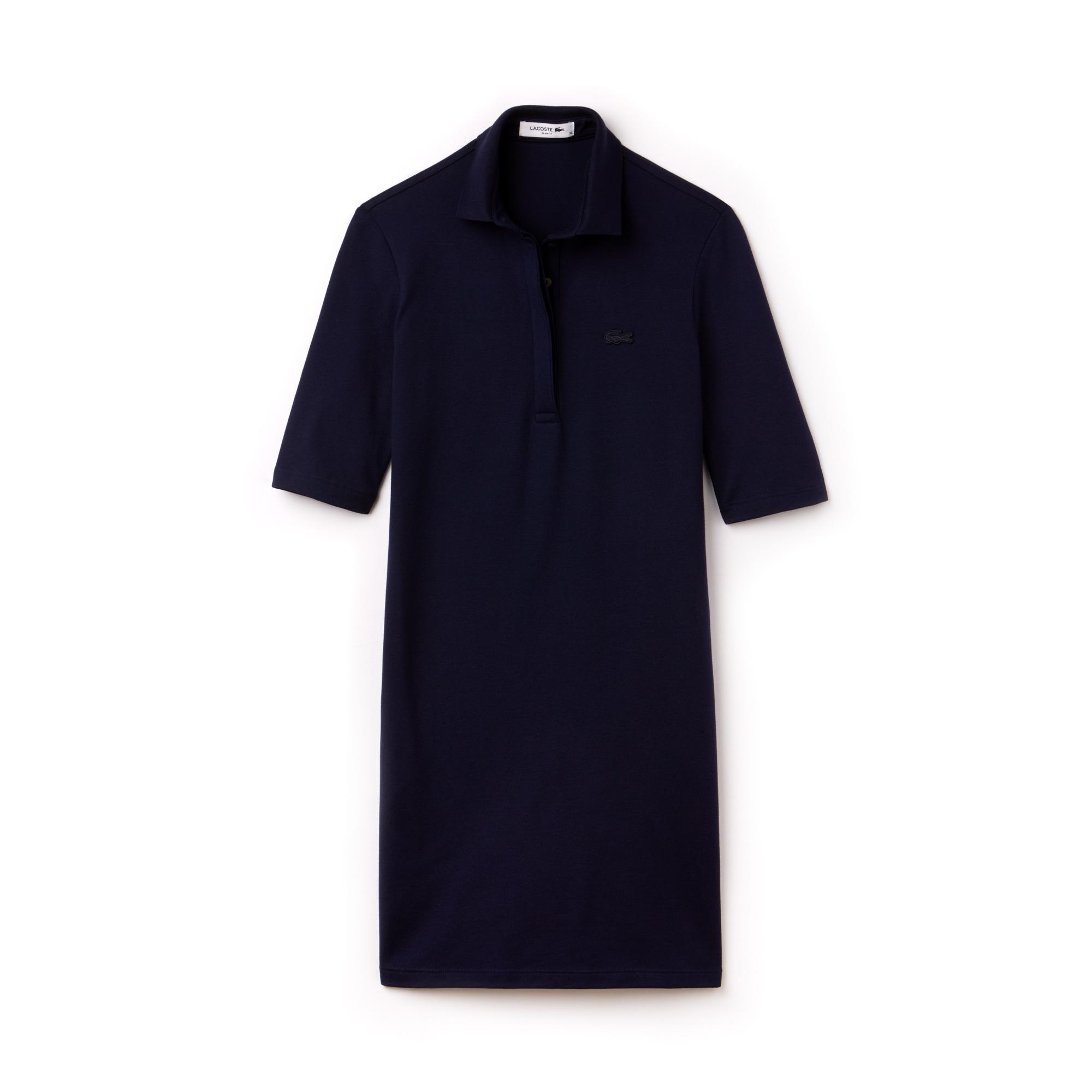 Vestido tipo polo slim fit con mangas tres cuartos de minipiqué elástico