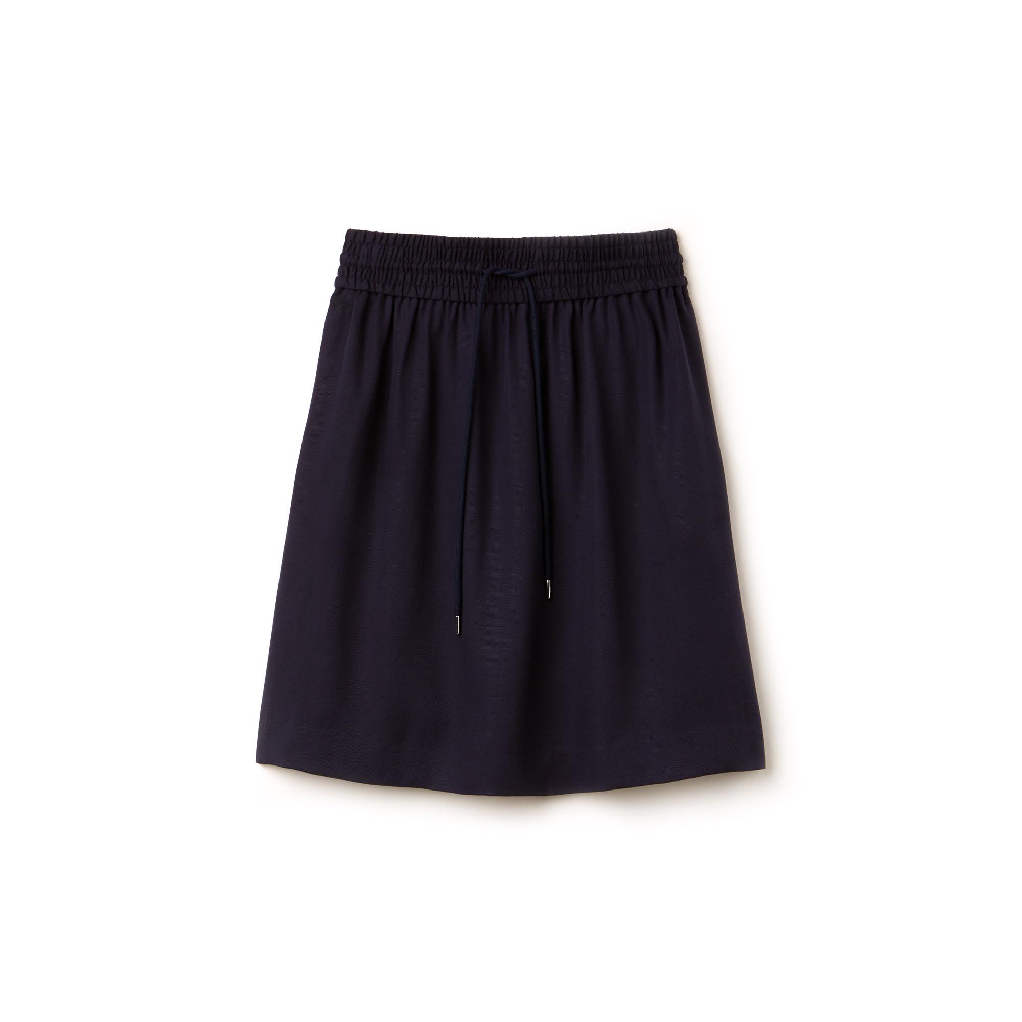 Falda midi de piqué liso con cintura elástica