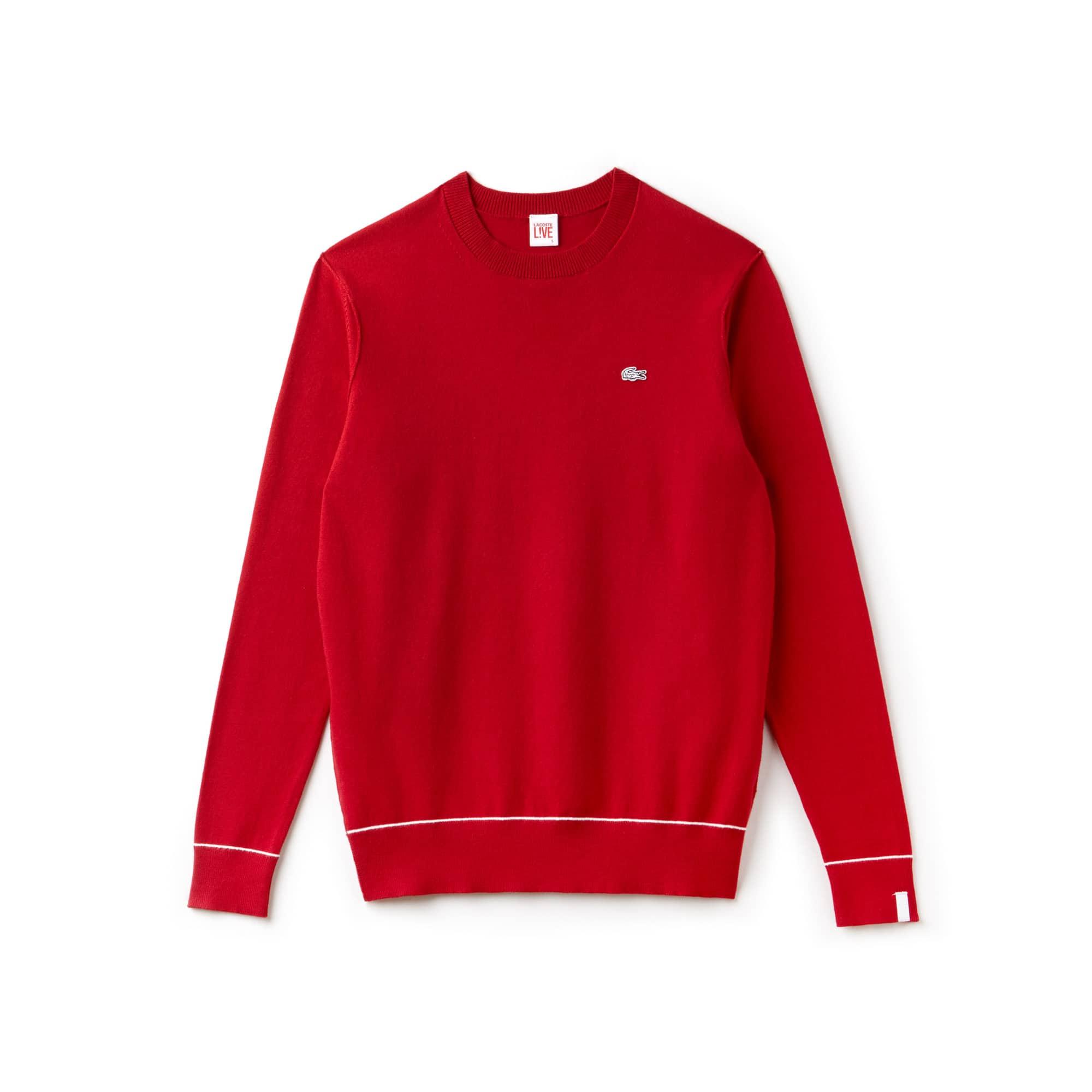 Jersey de cuello redondo Lacoste LIVE de punto jersey de algodón y seda liso