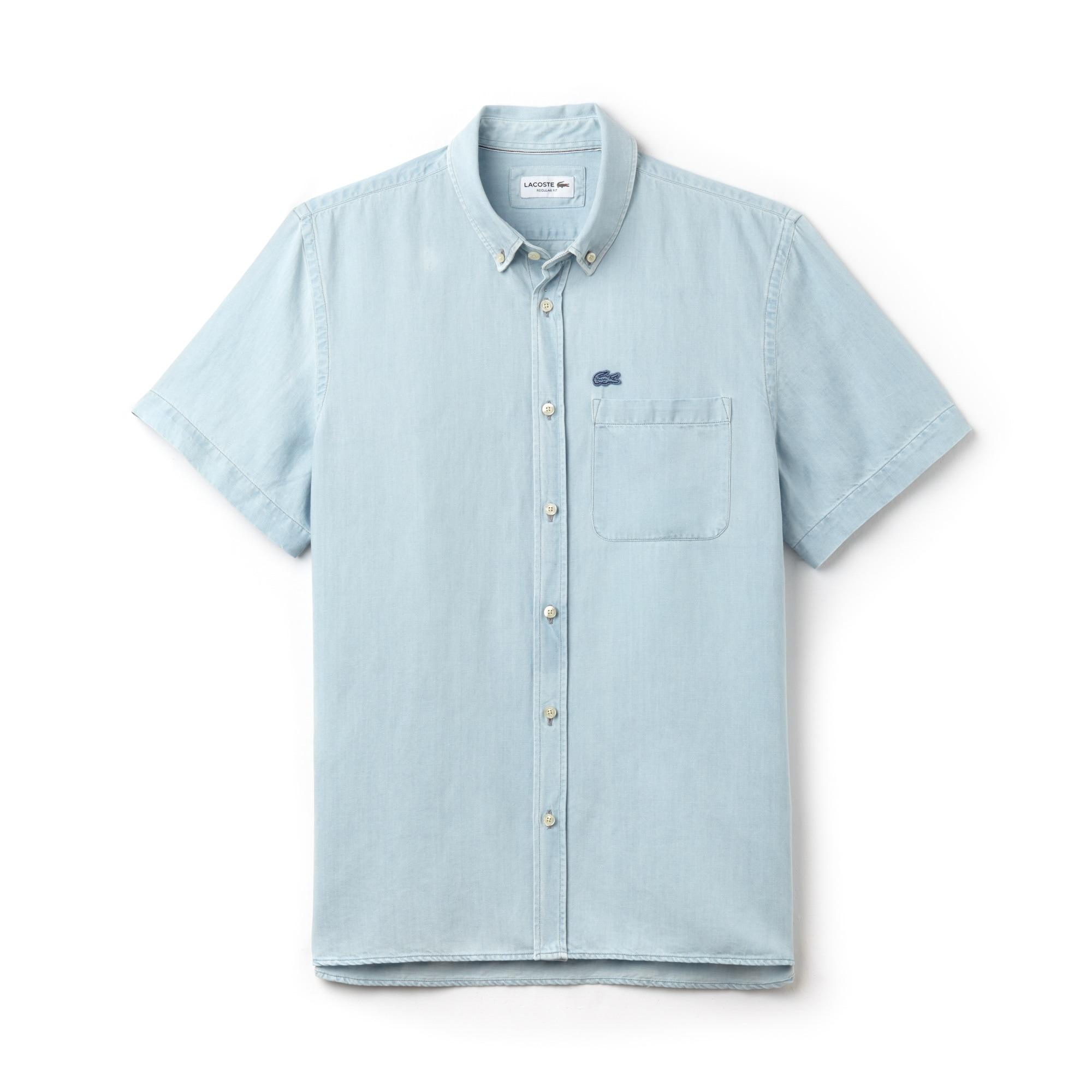 Camisa relax fit de manga corta en denim ligero