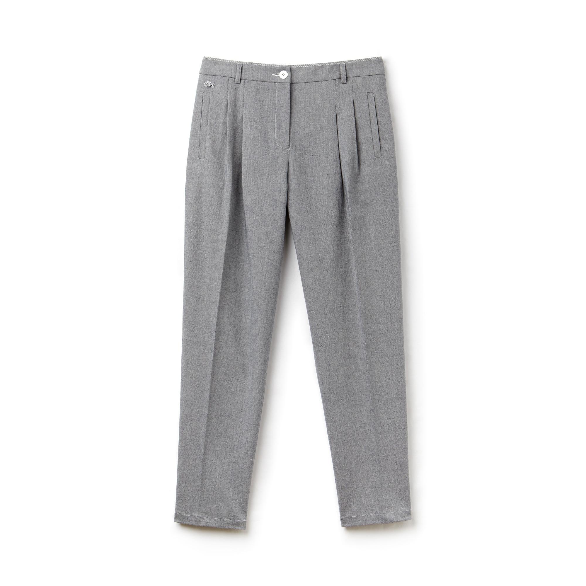 Pantalón zanahoria con pinzas de loneta de algodón elástica lisa
