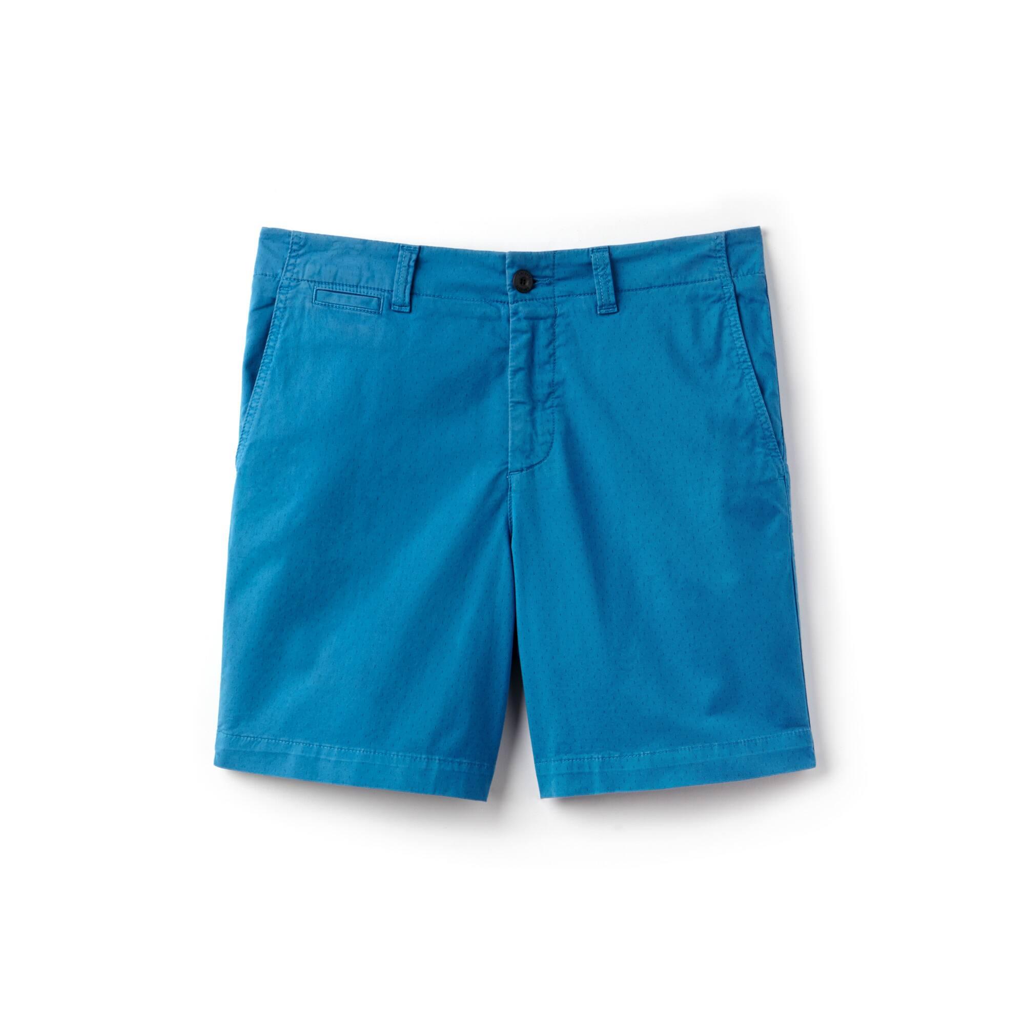 Bermudas de corte ajustado en sarga de algodón elástico con pequeños estampados