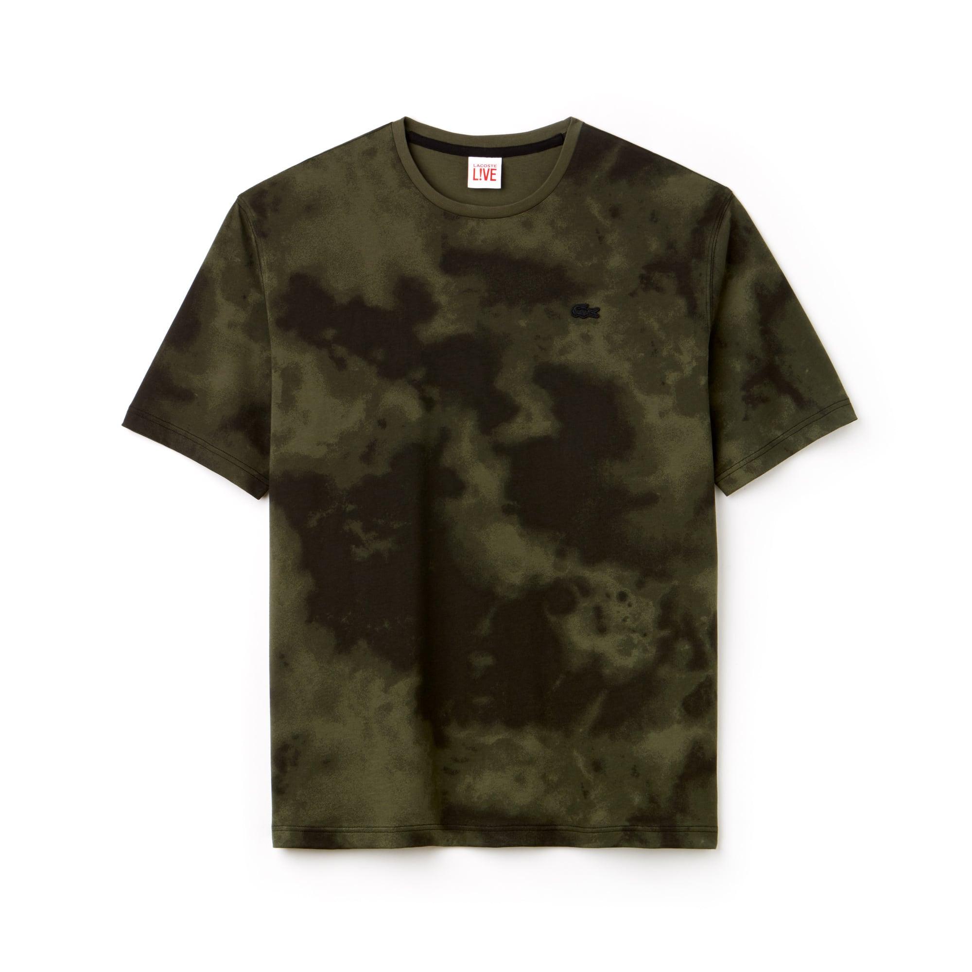 Camiseta De Hombre Lacoste LIVE En Tejido De Punto De Algodón Con Estampado De Nubes Y Cuello Redondo