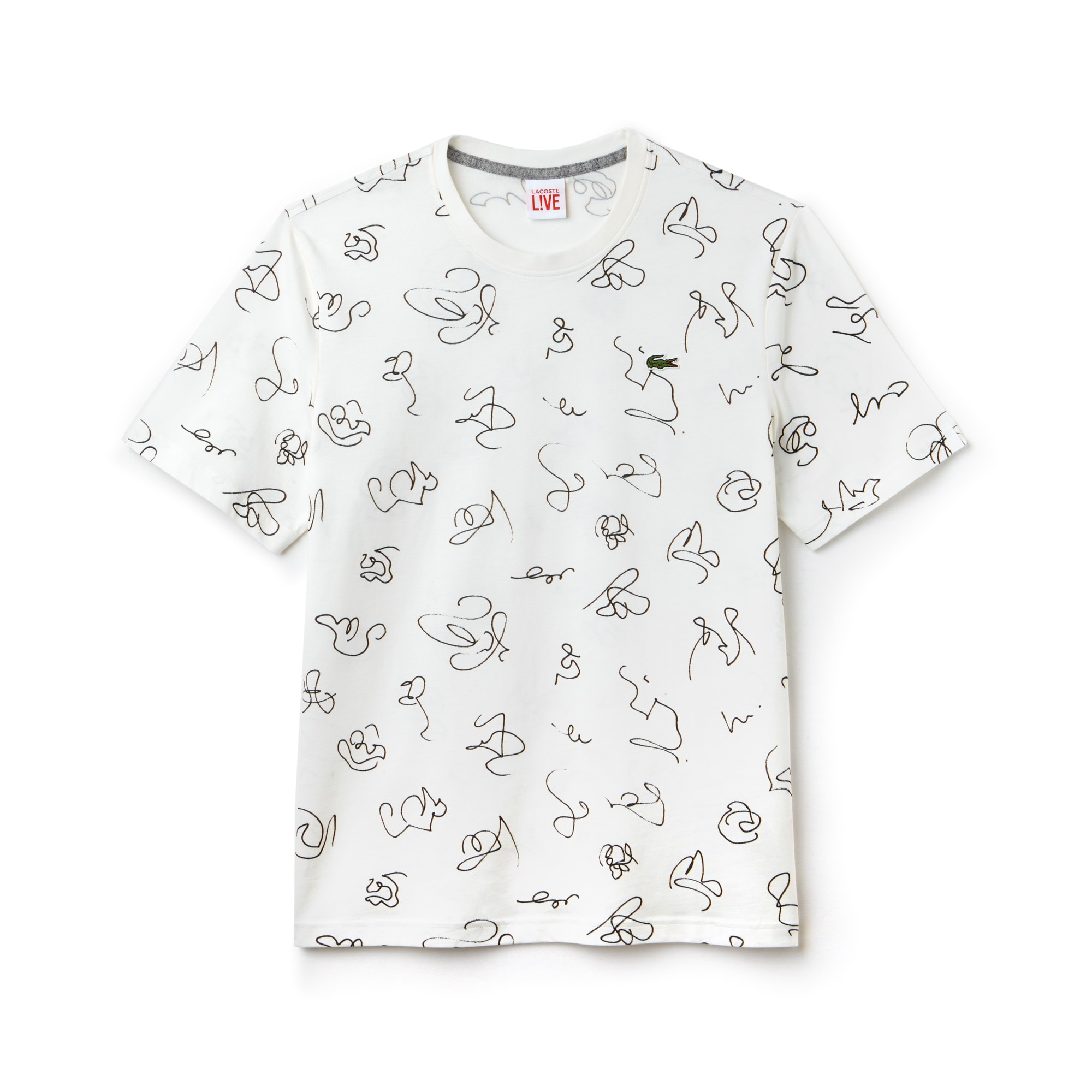 Camiseta de cuello redondo Lacoste LIVE de punto de algodón con dibujos estampados