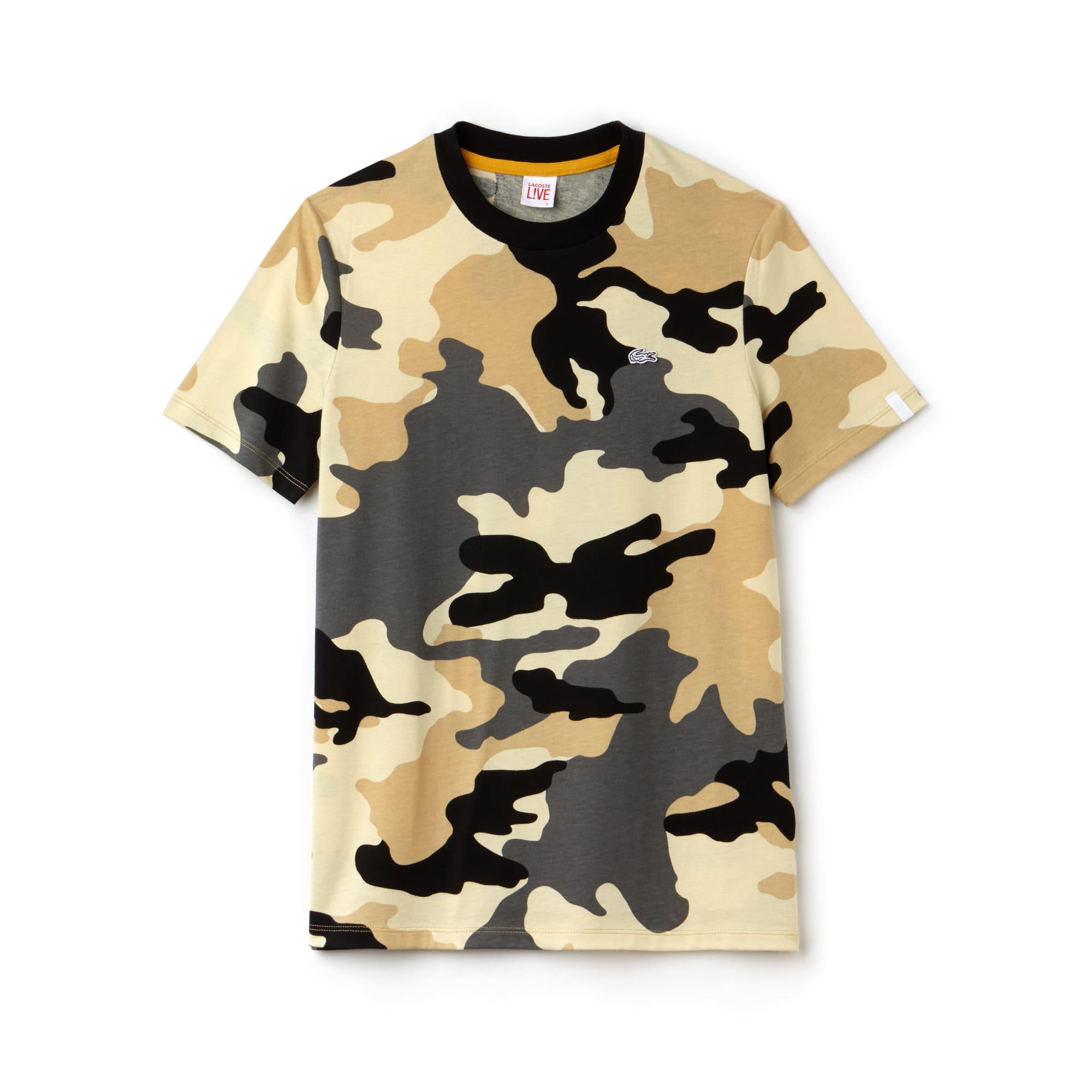 Camiseta de cuello redondo Lacoste LIVE de punto jersey estampado camuflaje