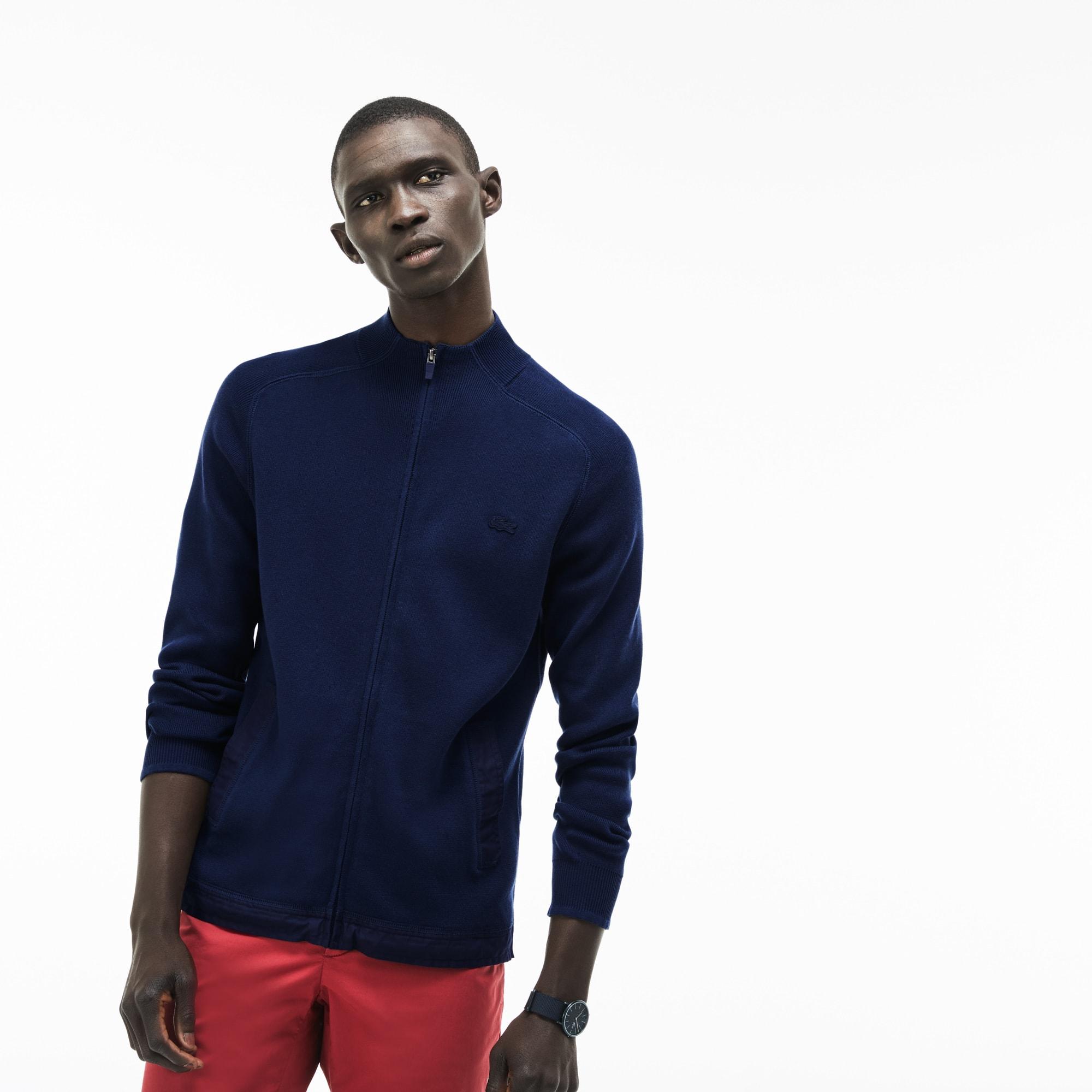 Jersey con cremallera de cuello alto de algodón acanalado con detalles contrastantes