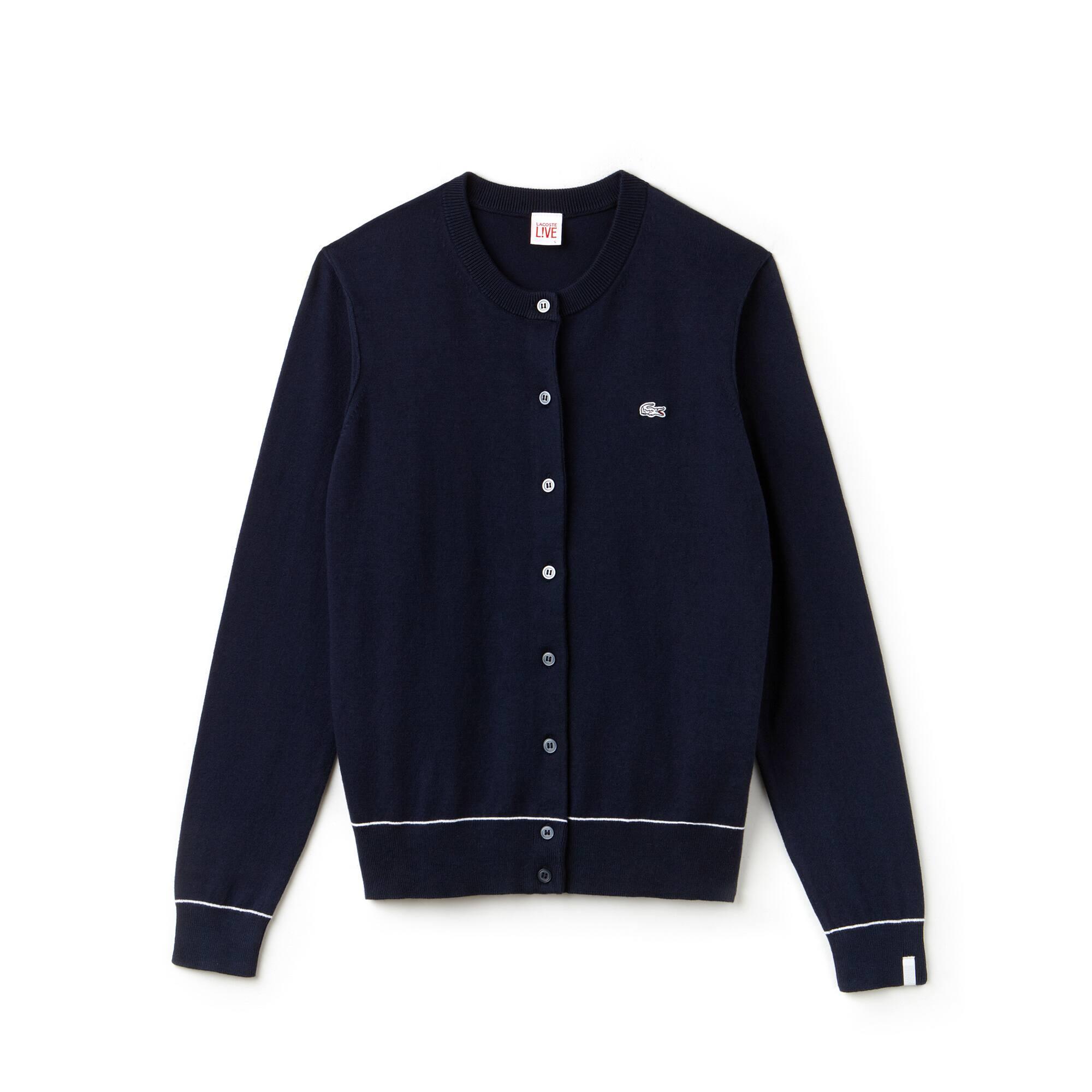 Cárdigan de cuello redondo Lacoste LIVE de punto jersey de algodón y seda liso