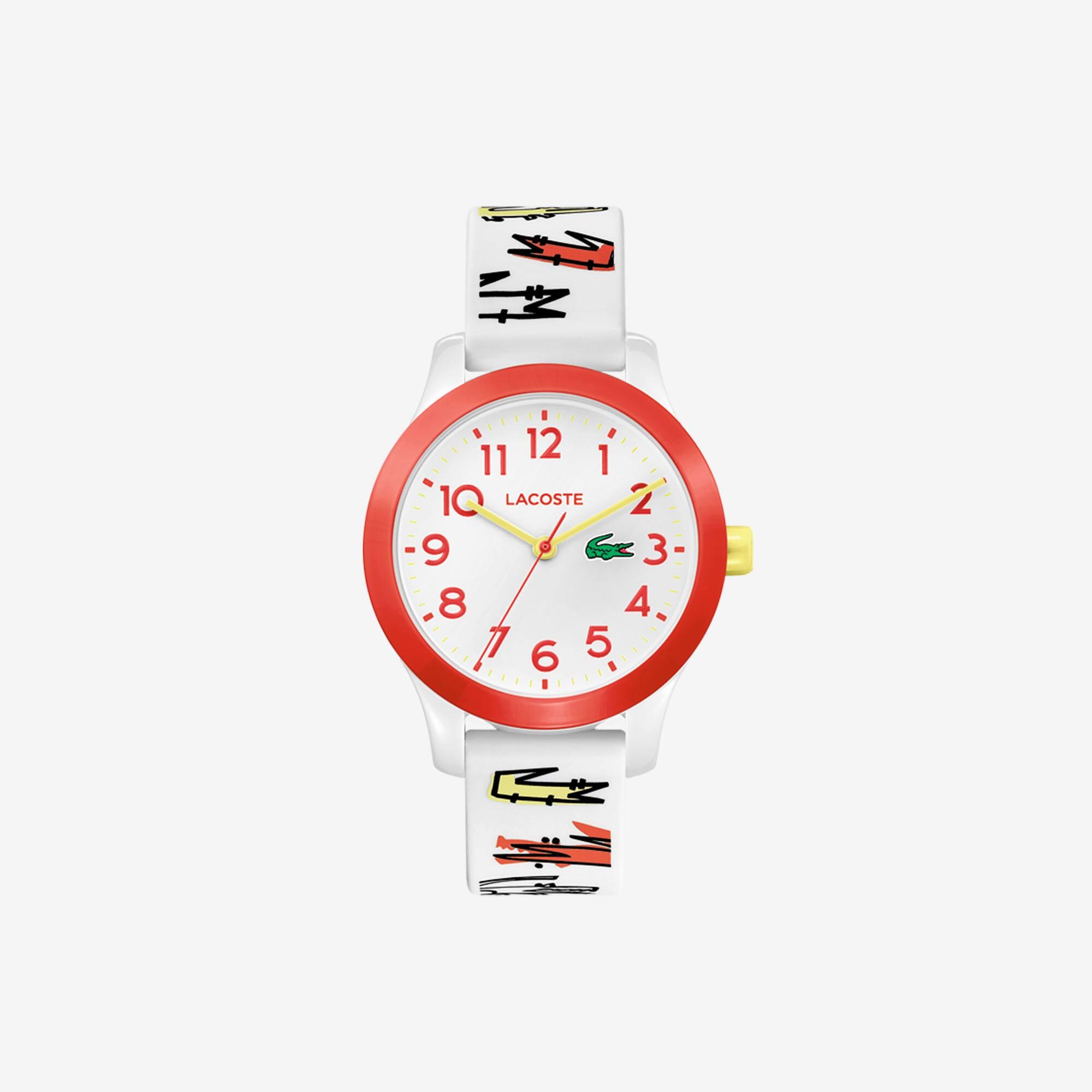 Reloj de niño Lacoste 12.12 con correa de silicona blanca estampada