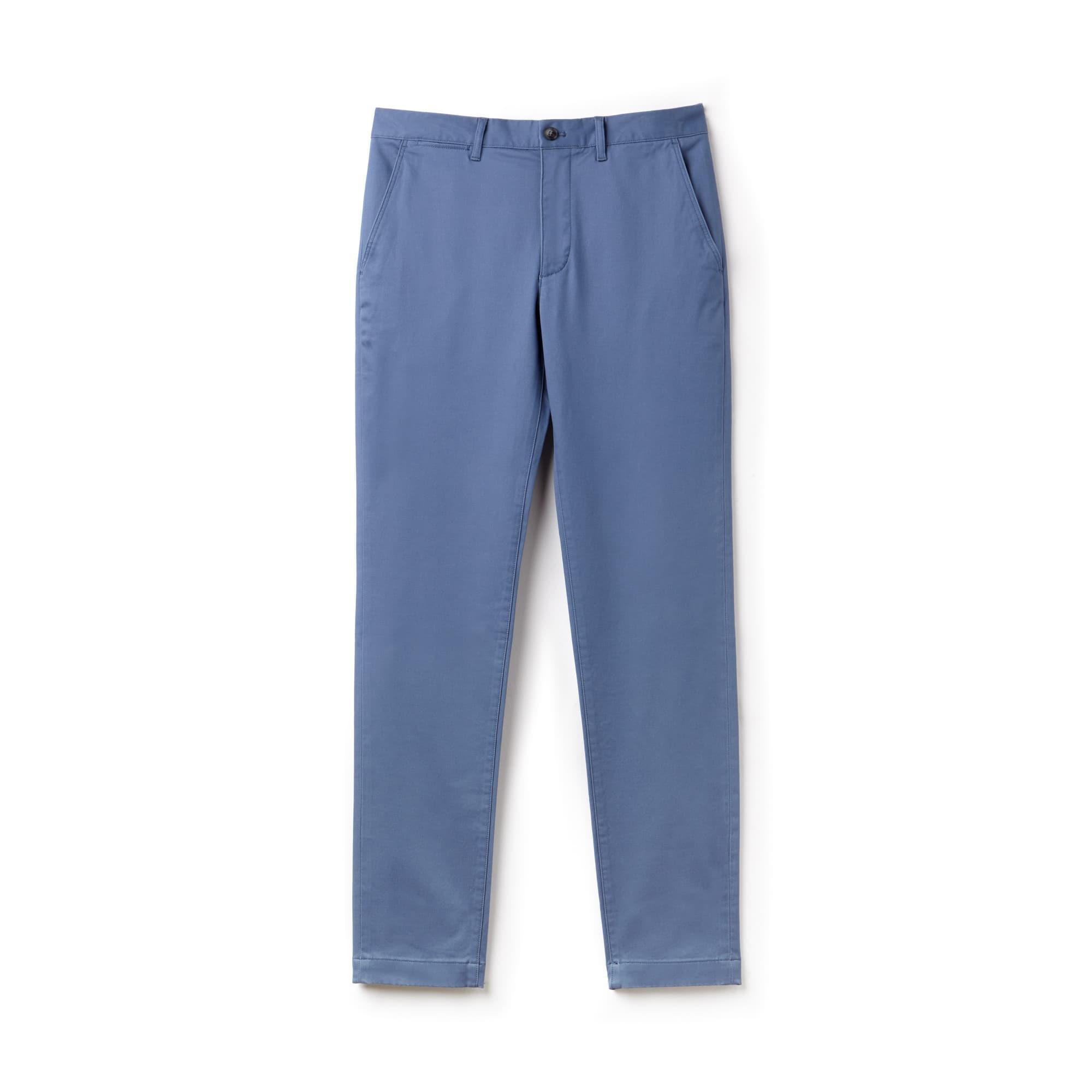 Pantalón chino slim fit de gabardina elástica lisa