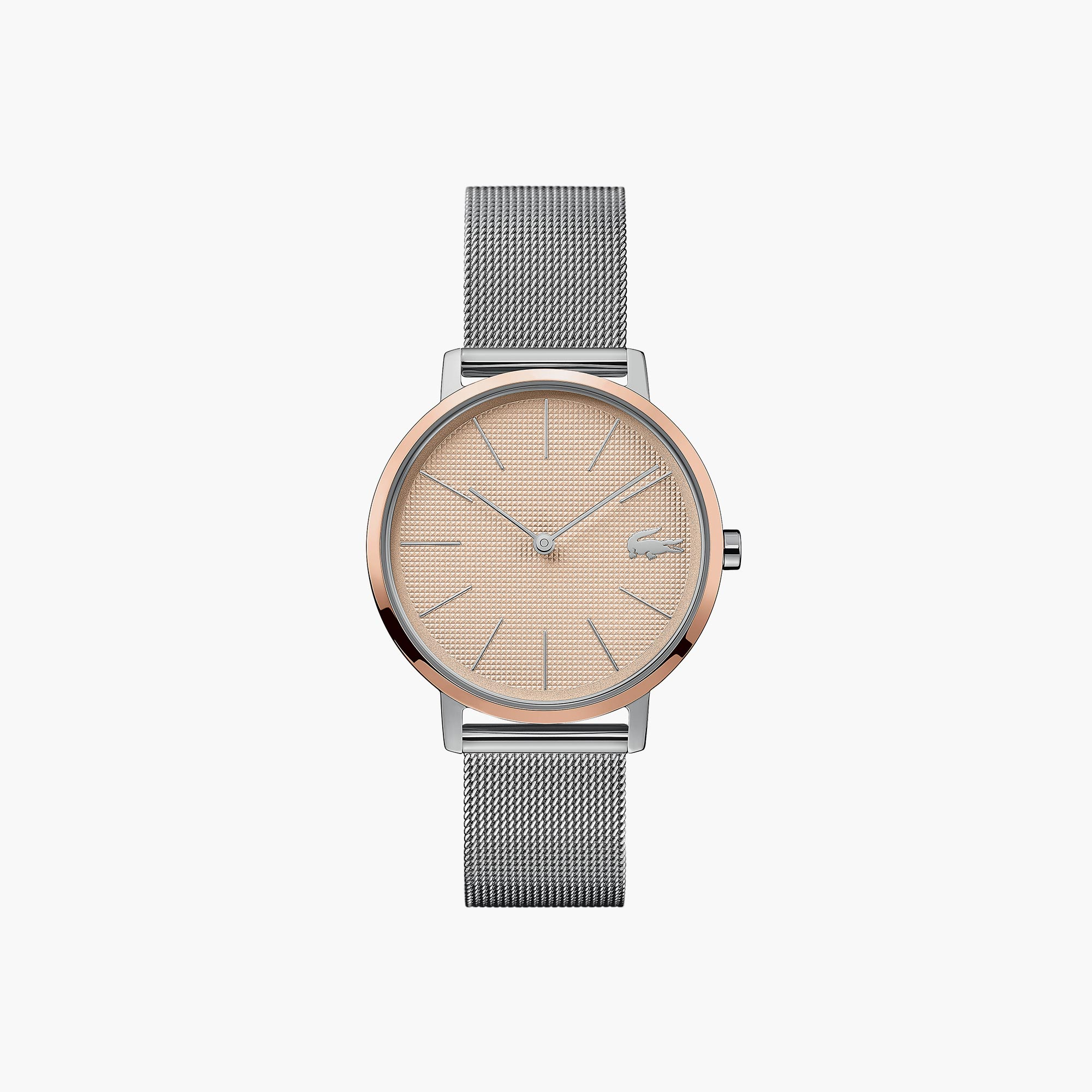 Ladies Moon Watch with Stainless Steel Mesh Band Strap and Rose Gold Dial