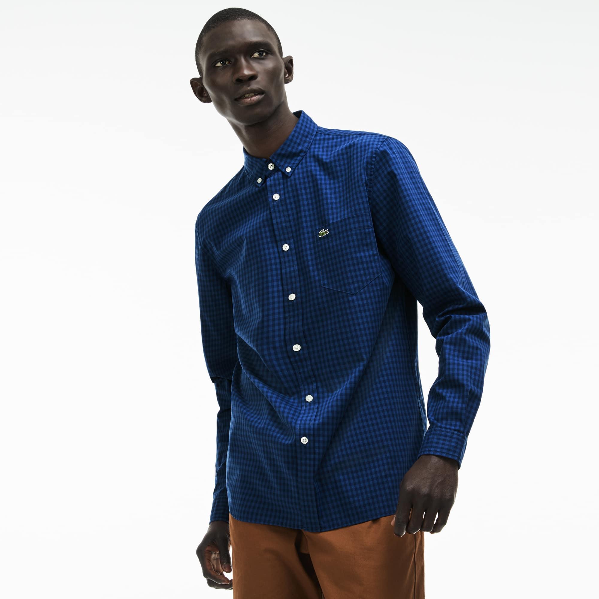 Men's Regular Fit Mini Check Cotton Poplin Shirt
