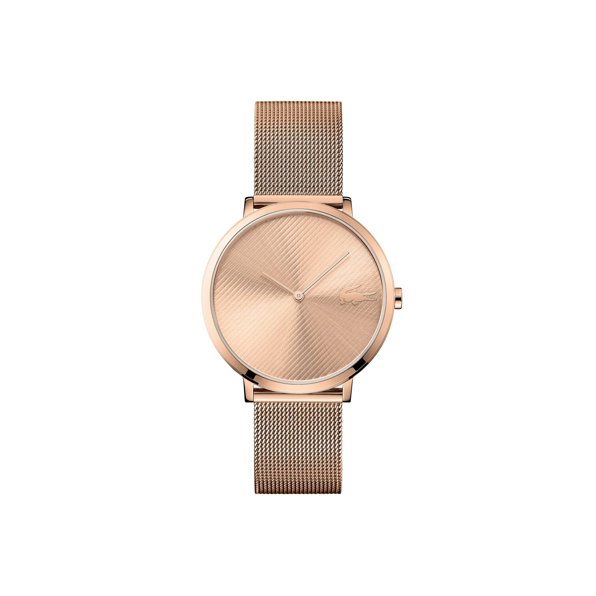 Reloj Moon ultrafino con pulsera de malla chapada de oro rosa