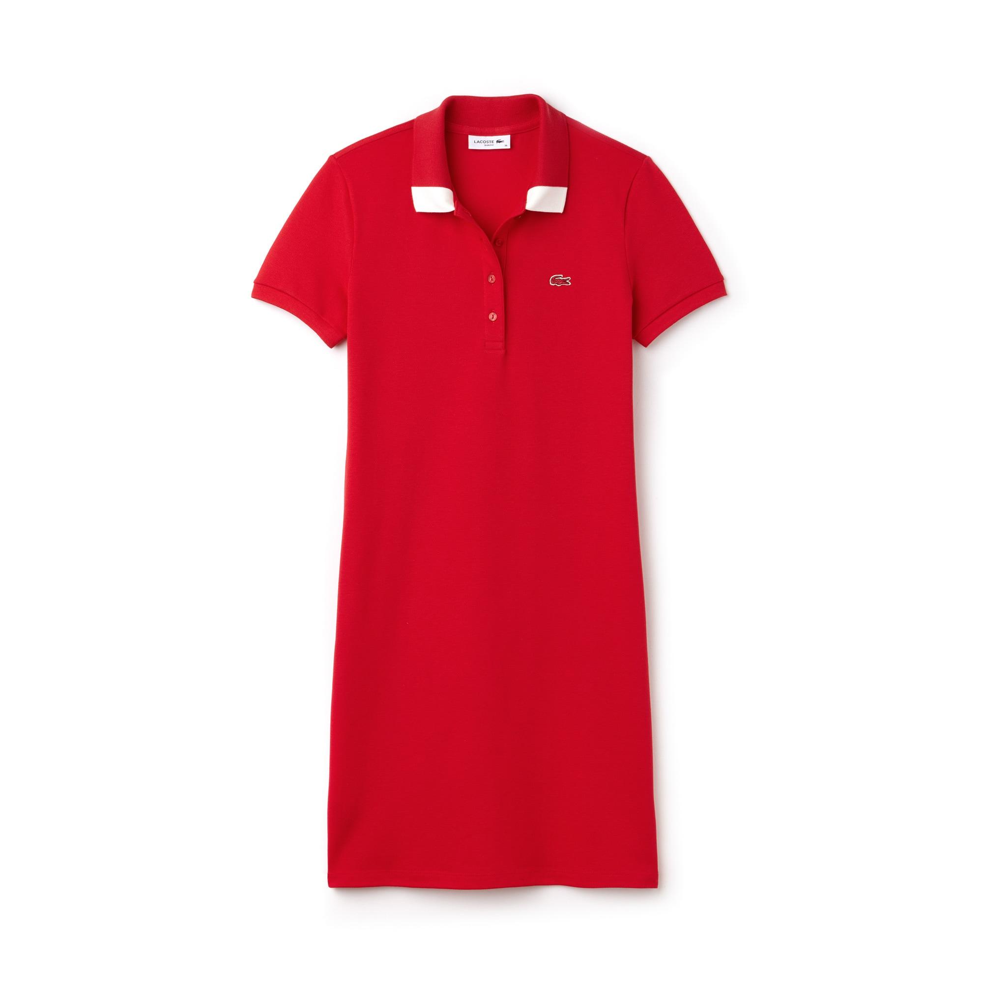 Vestido tipo polo con cuello bicolor slim fit de minipiqué elástico liso