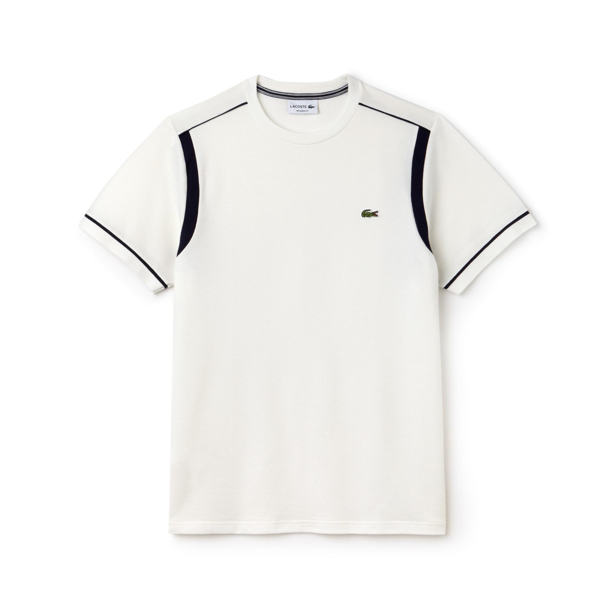 Camiseta Con Cuello Redondo De Punto Cuadrado De Algodón Con Franjas A Contraste