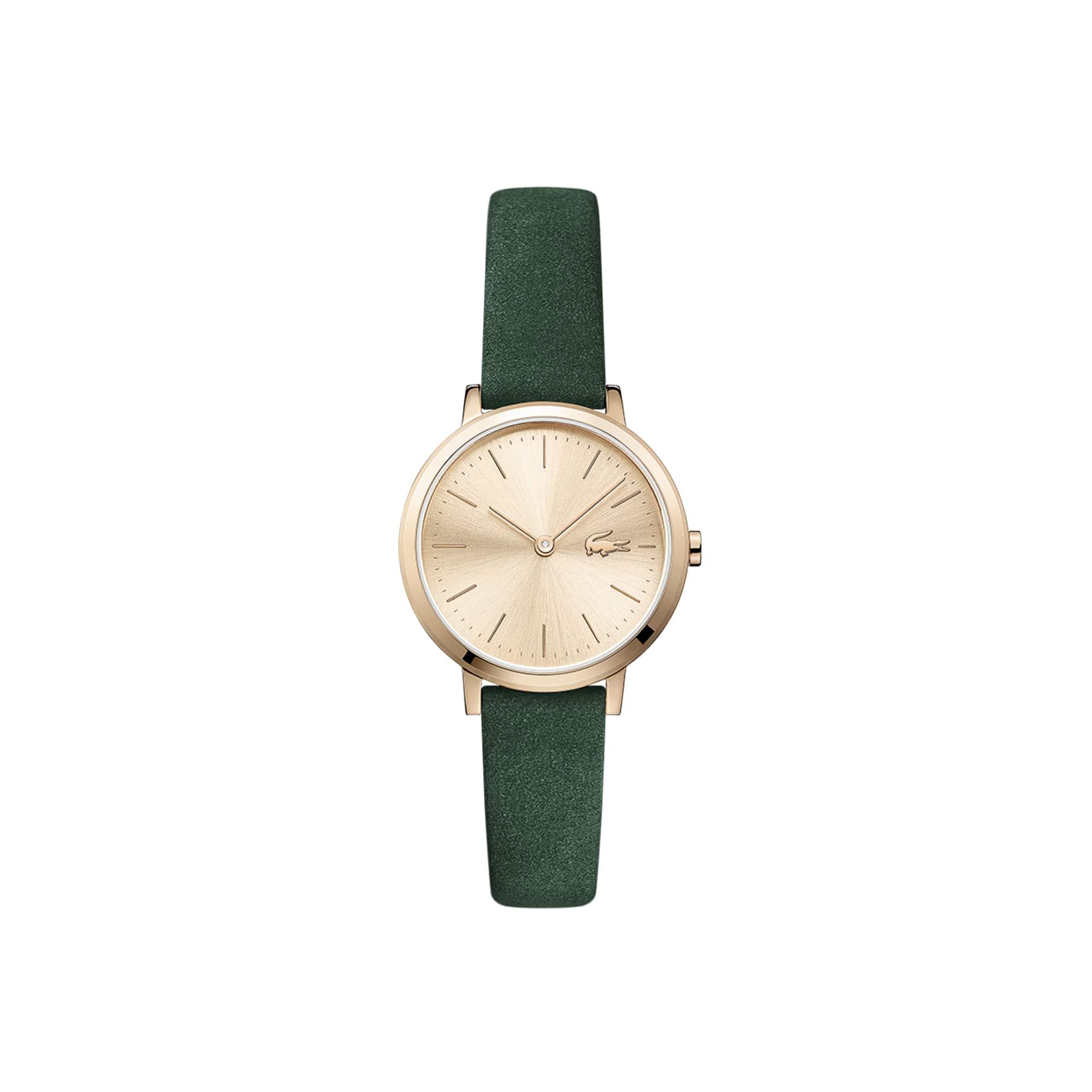 Reloj de Mujer Mini Moon Ultrafino con Correa de Piel de Ante Verde