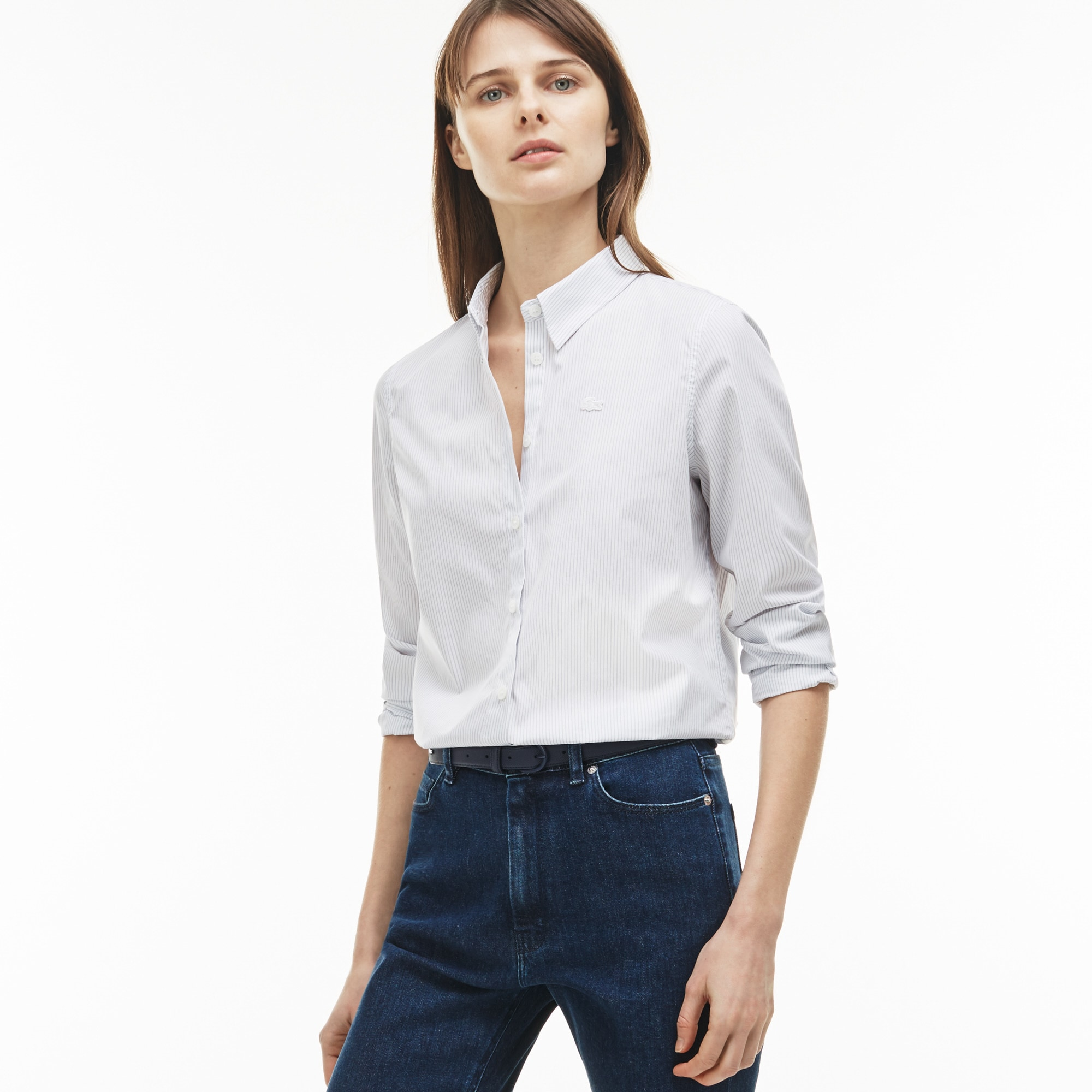 Women's Regular Fit Striped Poplin Shirt