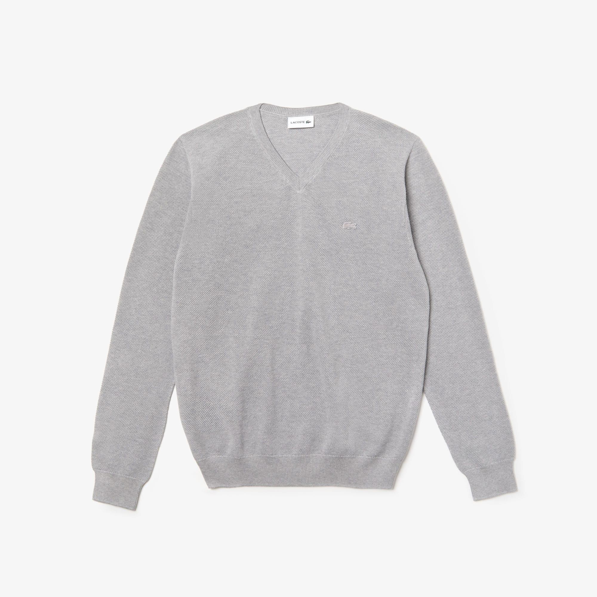 Jersey de cuello a pico de piqué de algodón