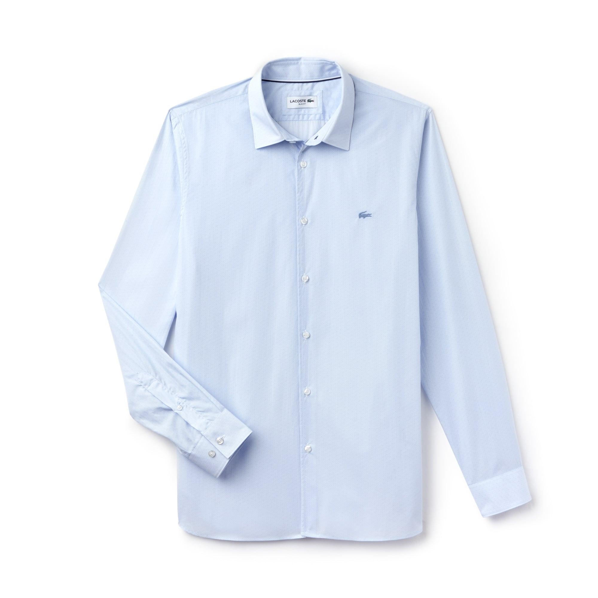 Camisa De Hombre Slim Fit En Popelín De Algodón Estampado