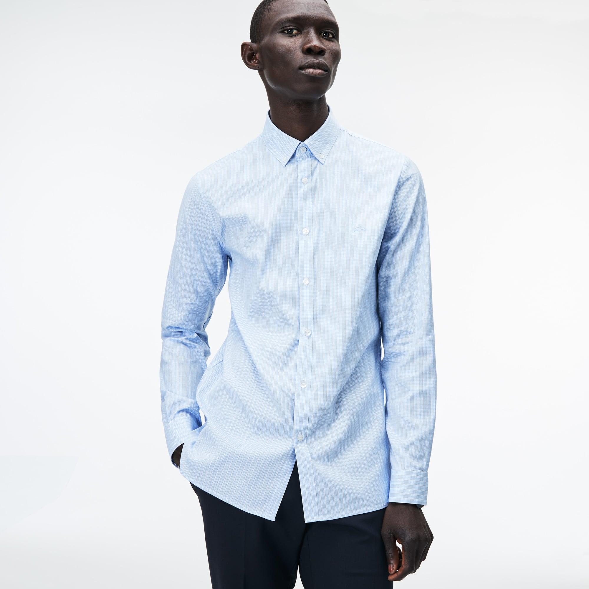 Camisa De Hombre Slim Fit En Algodón Pinpoint Elástico De Cuadros