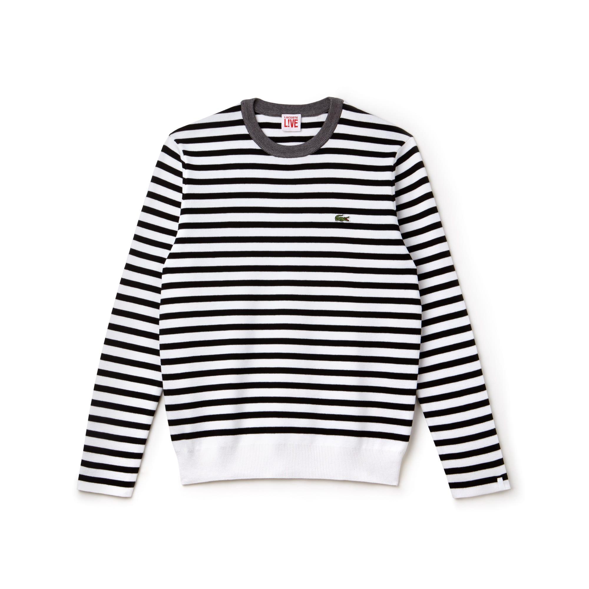 Jersey de cuello redondo Lacoste LIVE de punto jersey de algodón de rayas