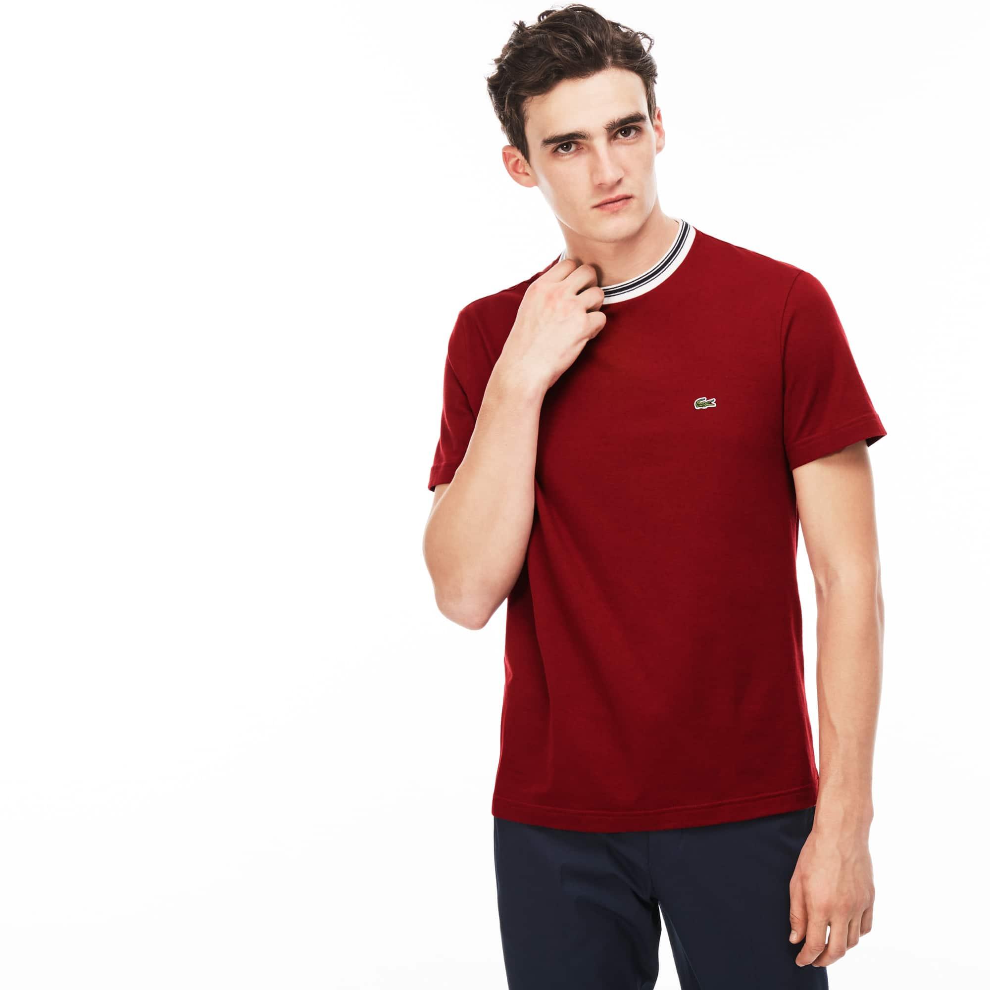 Camiseta Con Cuello Redondo De Punto De Algodón Liso
