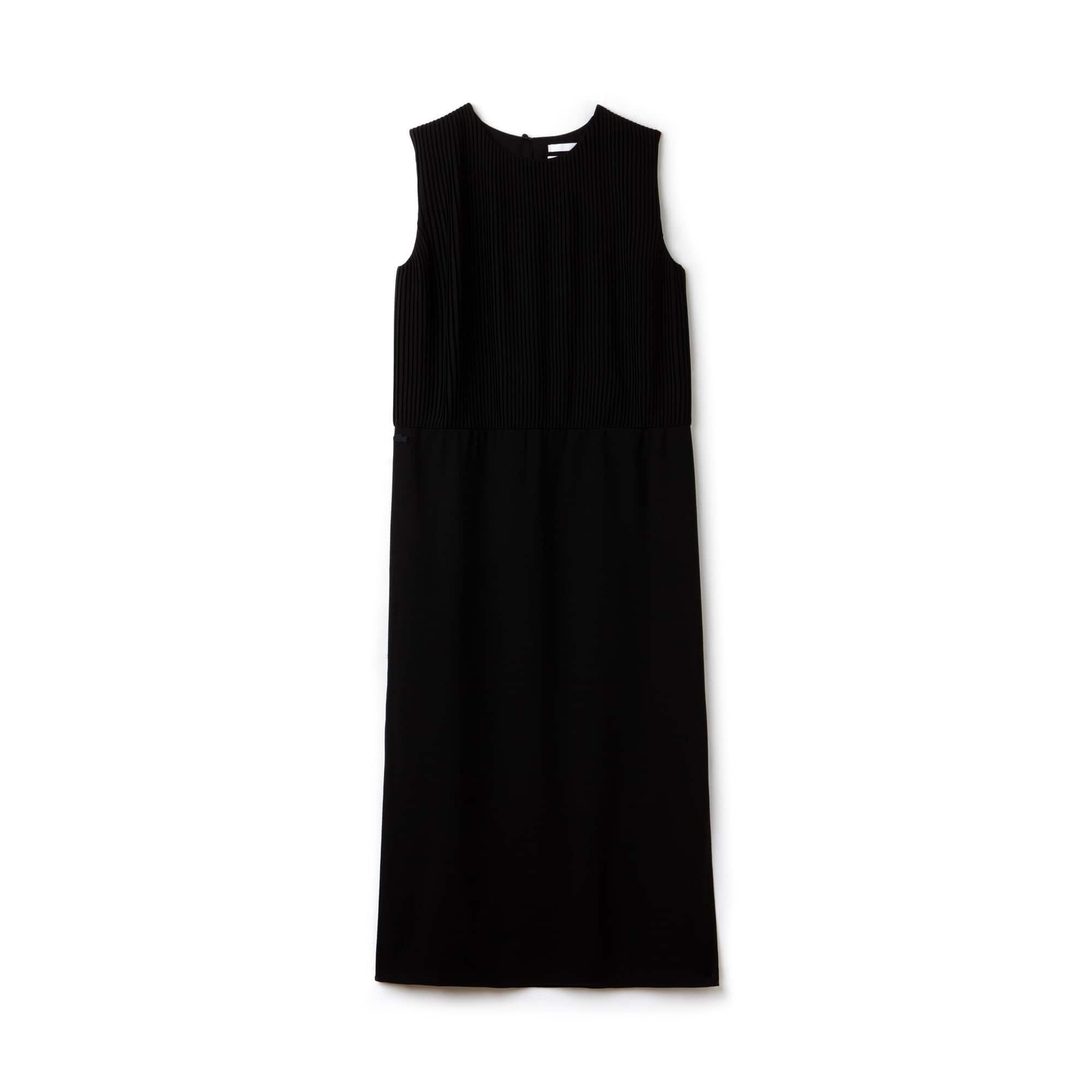 Vestido sin mangas plisado Lacoste LIVE de crepé liso