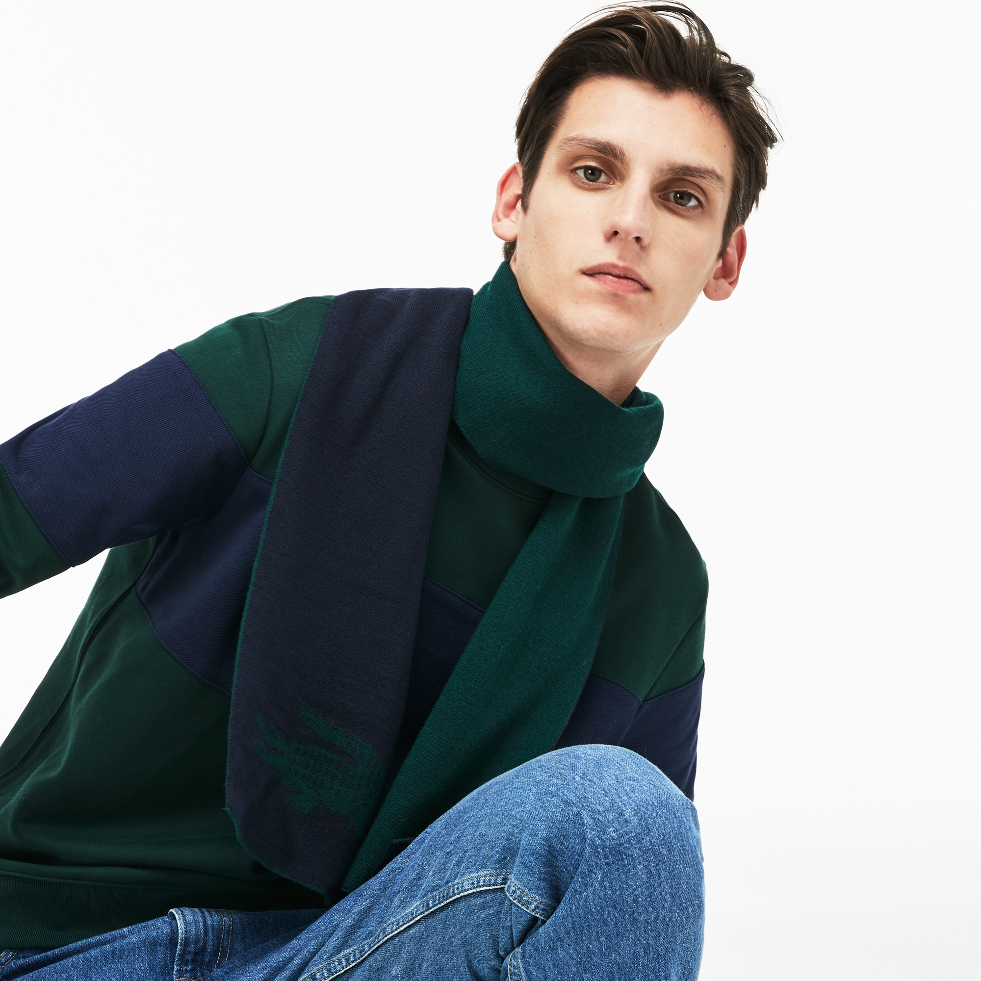 Bufanda de hombre de lana con cocodrilo de jacquard