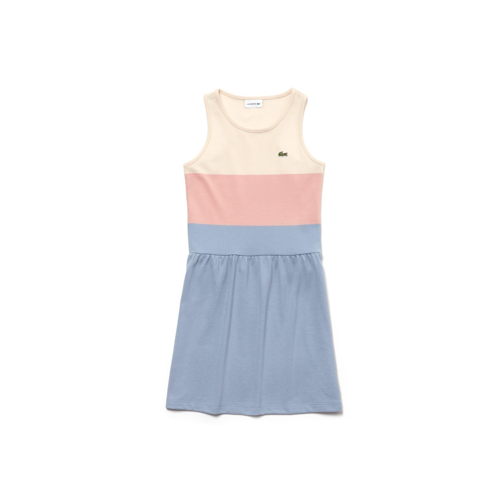 Vestido sin mangas de chica en piqué de algodón color block