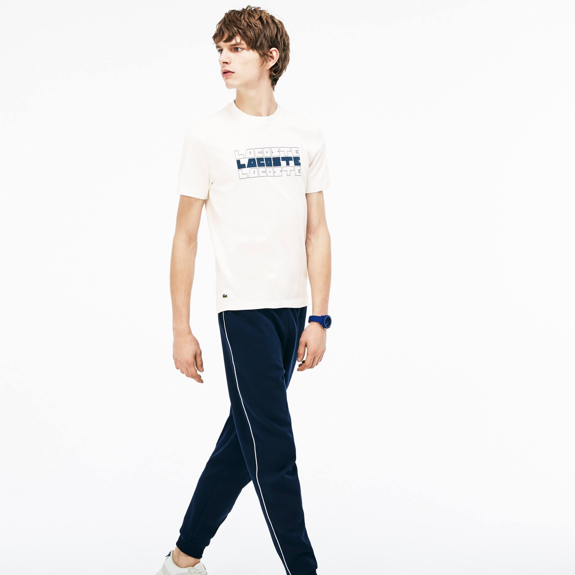 Camiseta De Hombre En Tejido De Punto De Algodón Con Cuello Redondo E Inscripción Lacoste