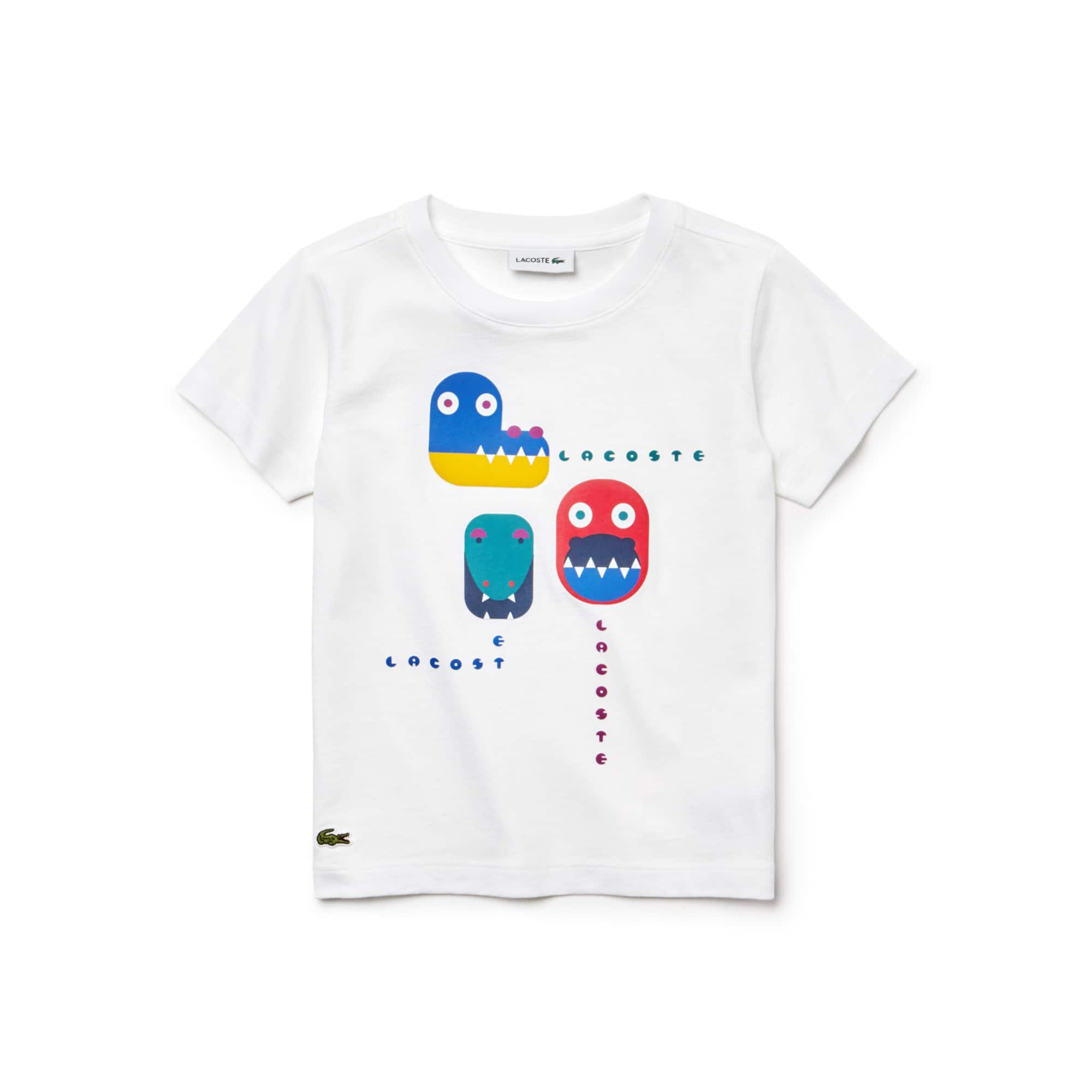 Camiseta De Niño En Tejido De Punto De Algodón Con Estampado De Cocodrilo Y Cuello Redondo