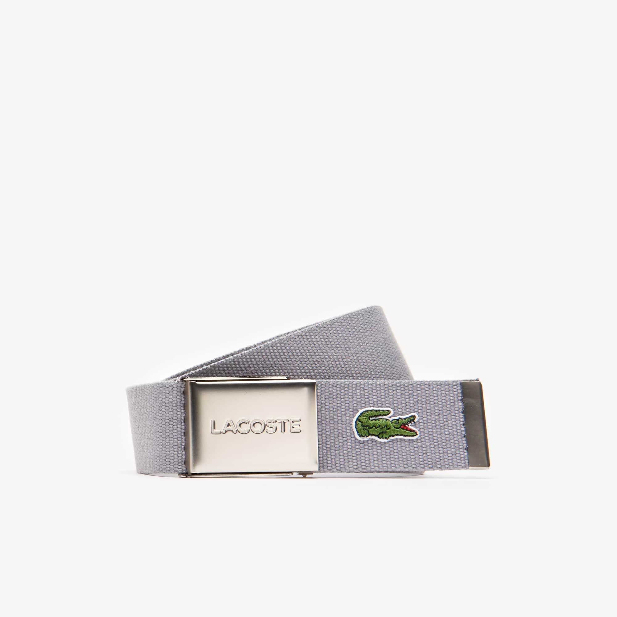 Cinturón de correa con hebilla grabada Lacoste Edición Made in France